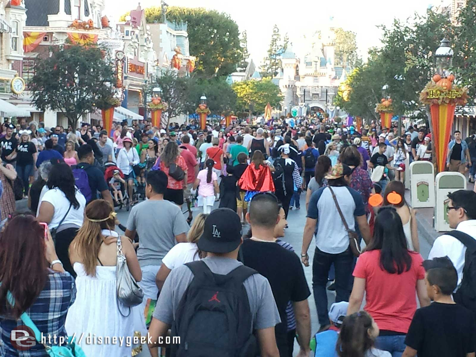 Main Street USA as day guests are filtering out and party guests are arriving #Disneyland