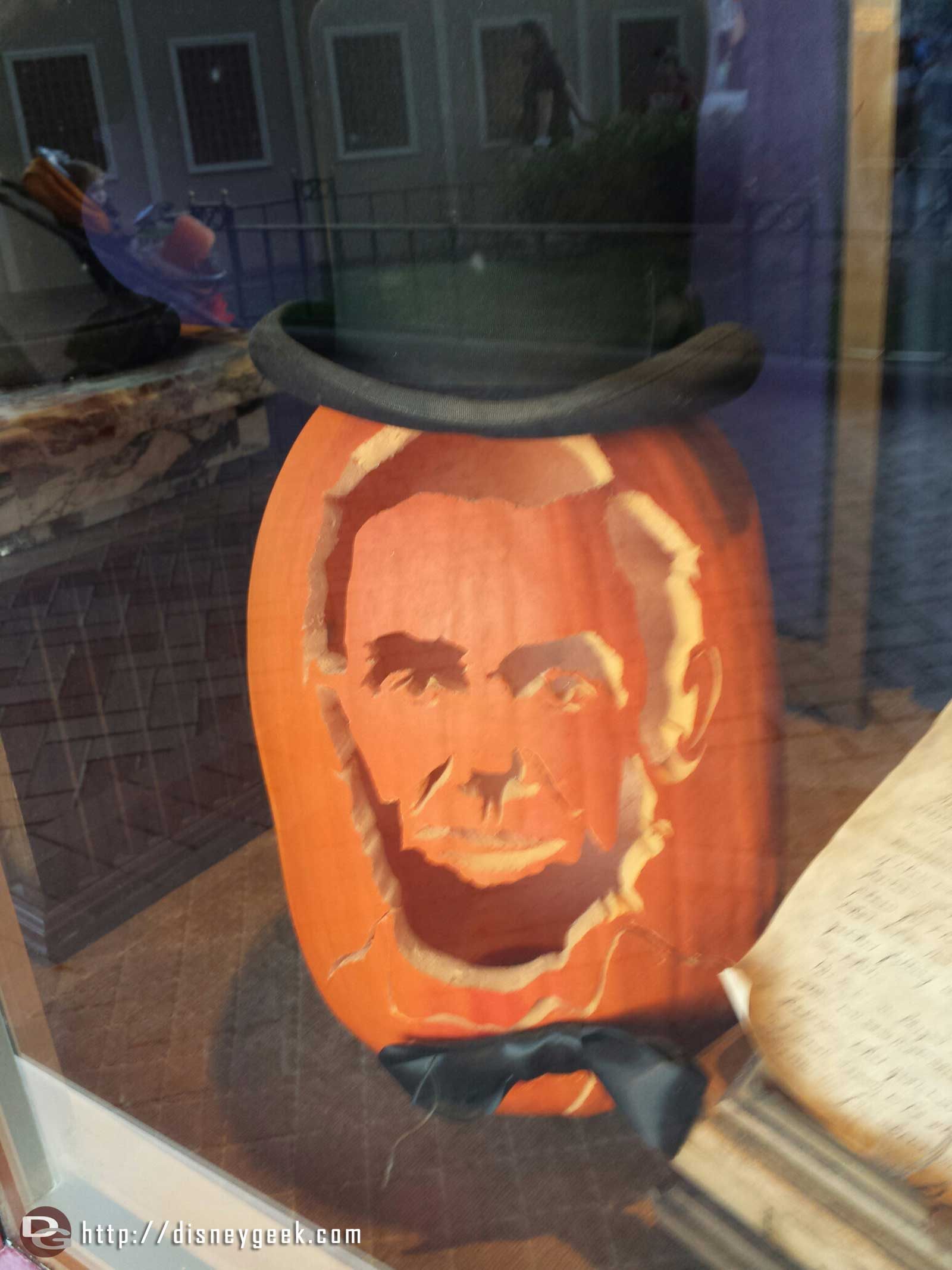 A Lincoln pumpkin in the Opera house window Main Street USA #Disneyland