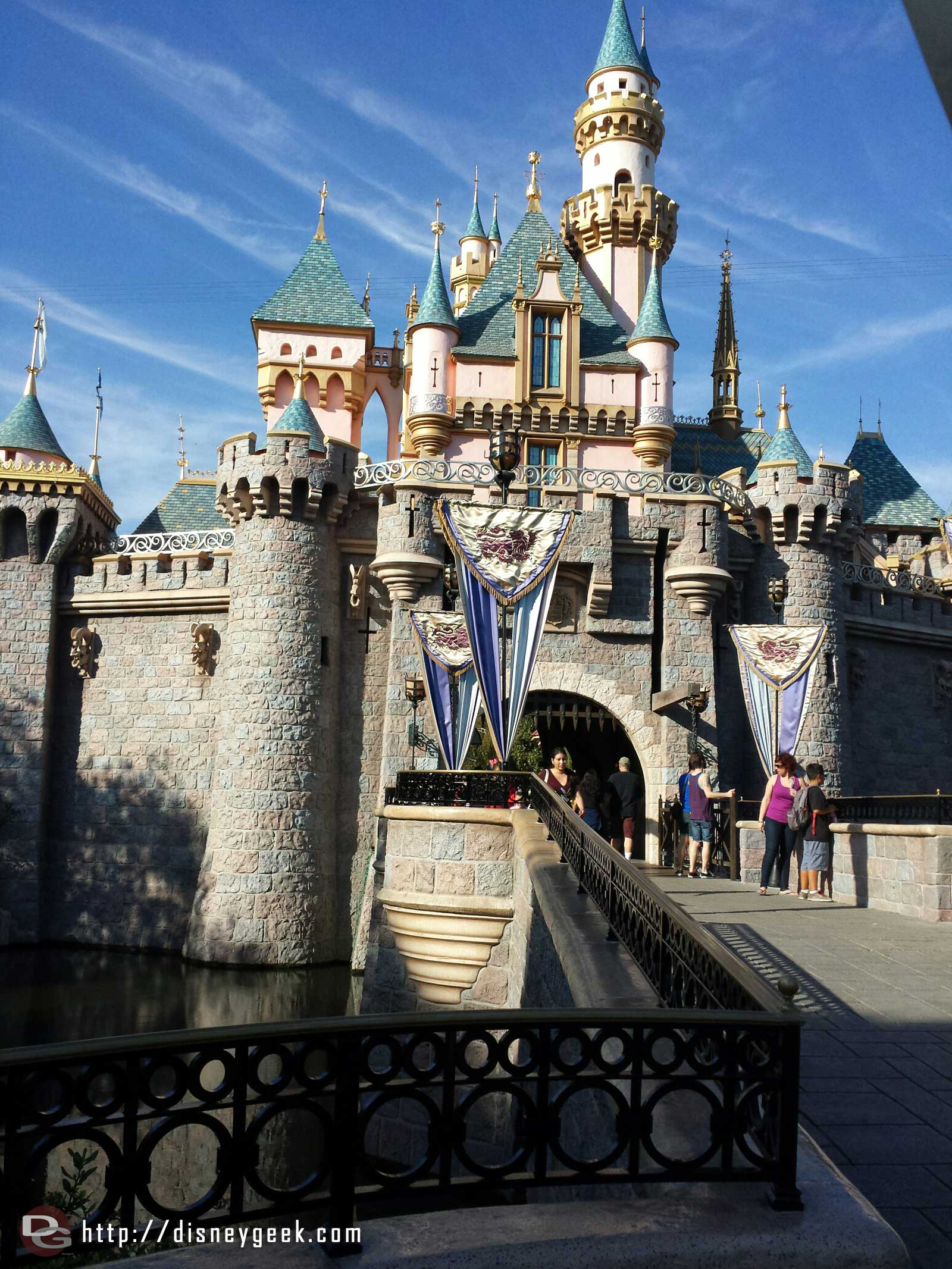 Sleeping Beauty Castle with new safety rails in the foreground