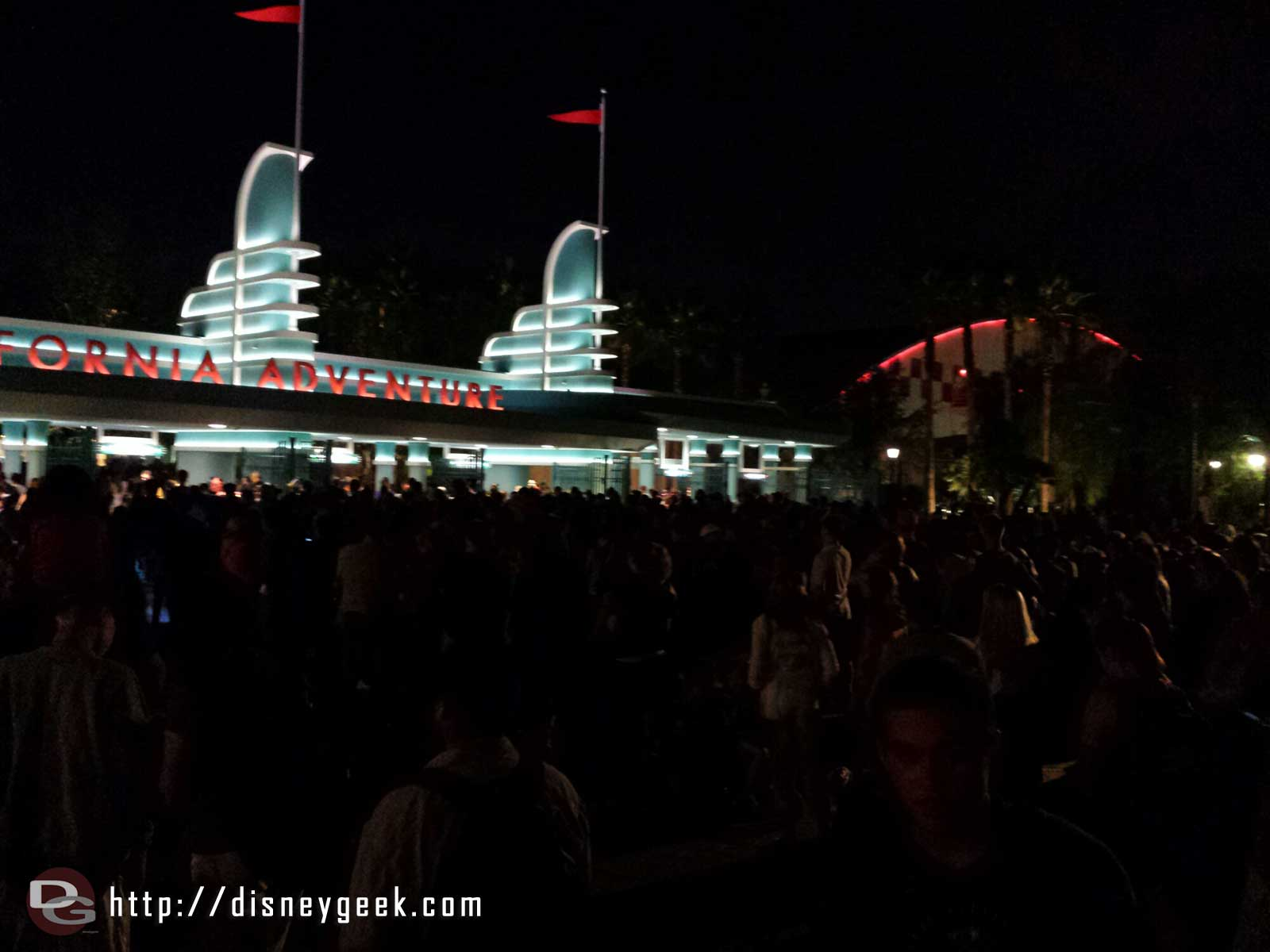 Due to #Disneyland closing for the party the lines for DCA are long