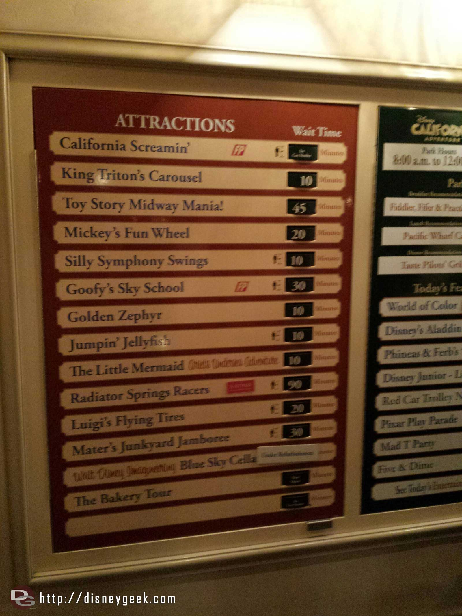 A blurry check of the DCA wait times as of 7:50pm