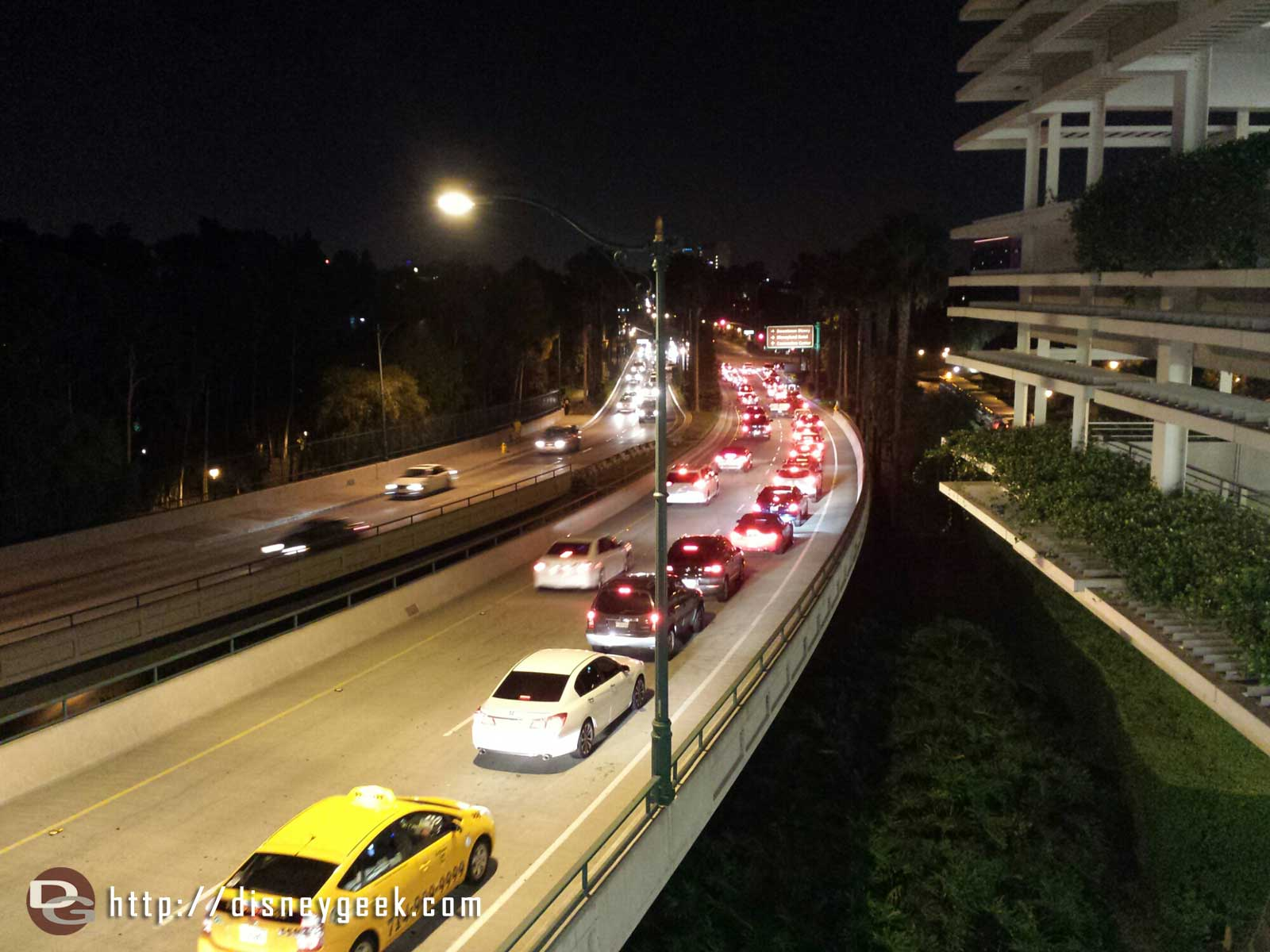 FYI for those just arriving Disneyland drive right turn lane for Downtown Disney is backed up to the overpass