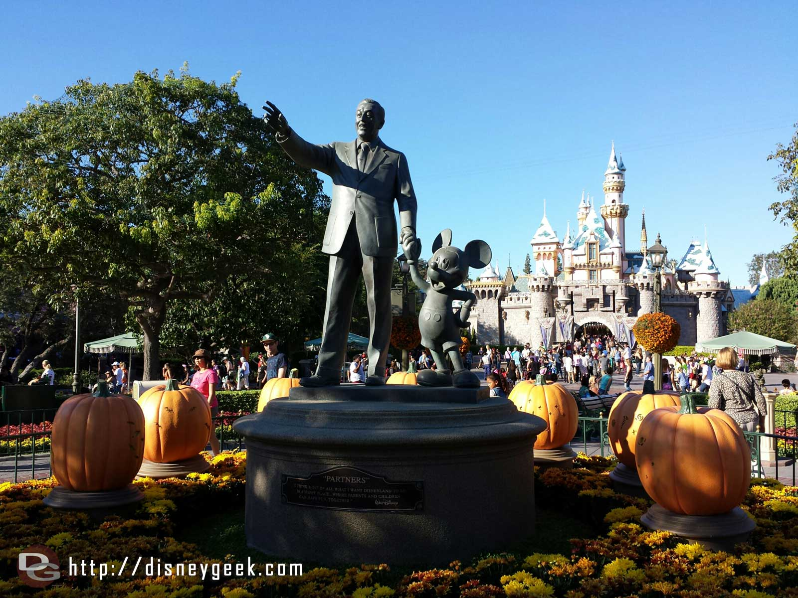 Walt, Mickey, pumpkins, snow & Sleeping Beauty Castle #Disneyland