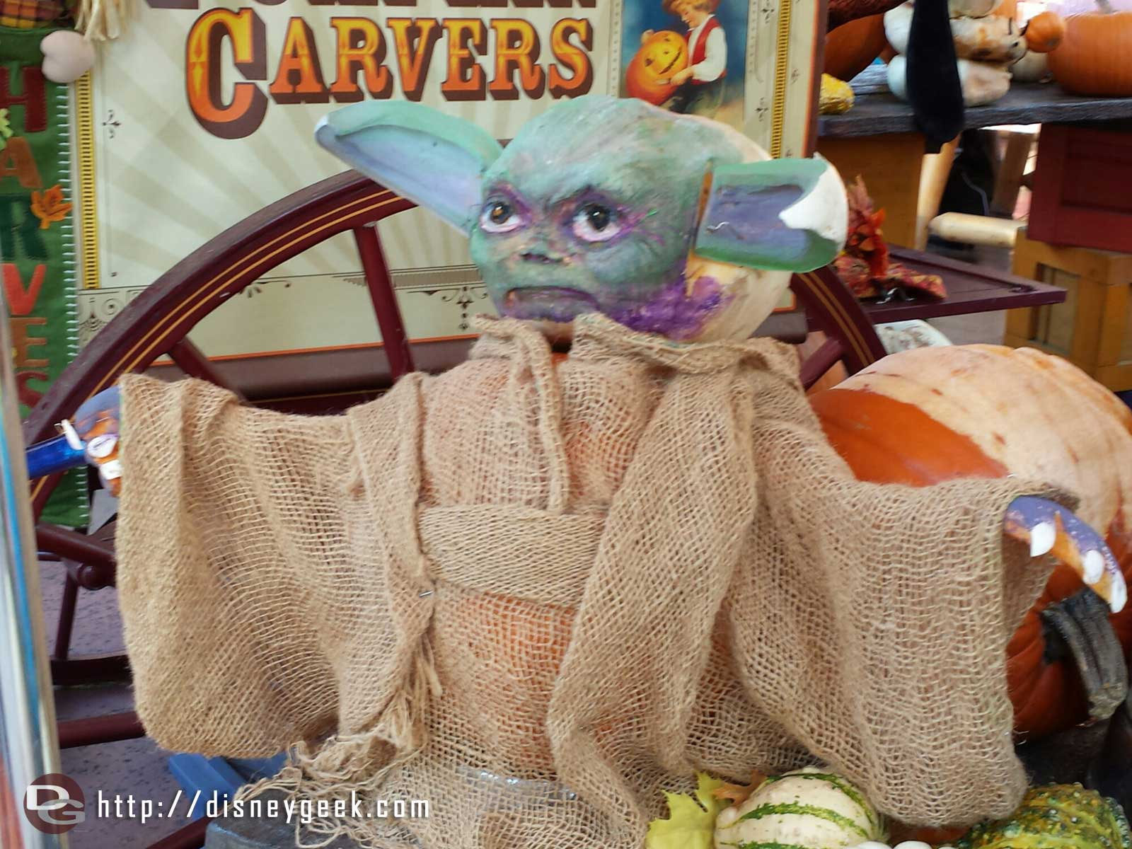 A Yoda pumpkin at the Big Thunder Ranch Jamboree Halloween Carnival #Disneyland