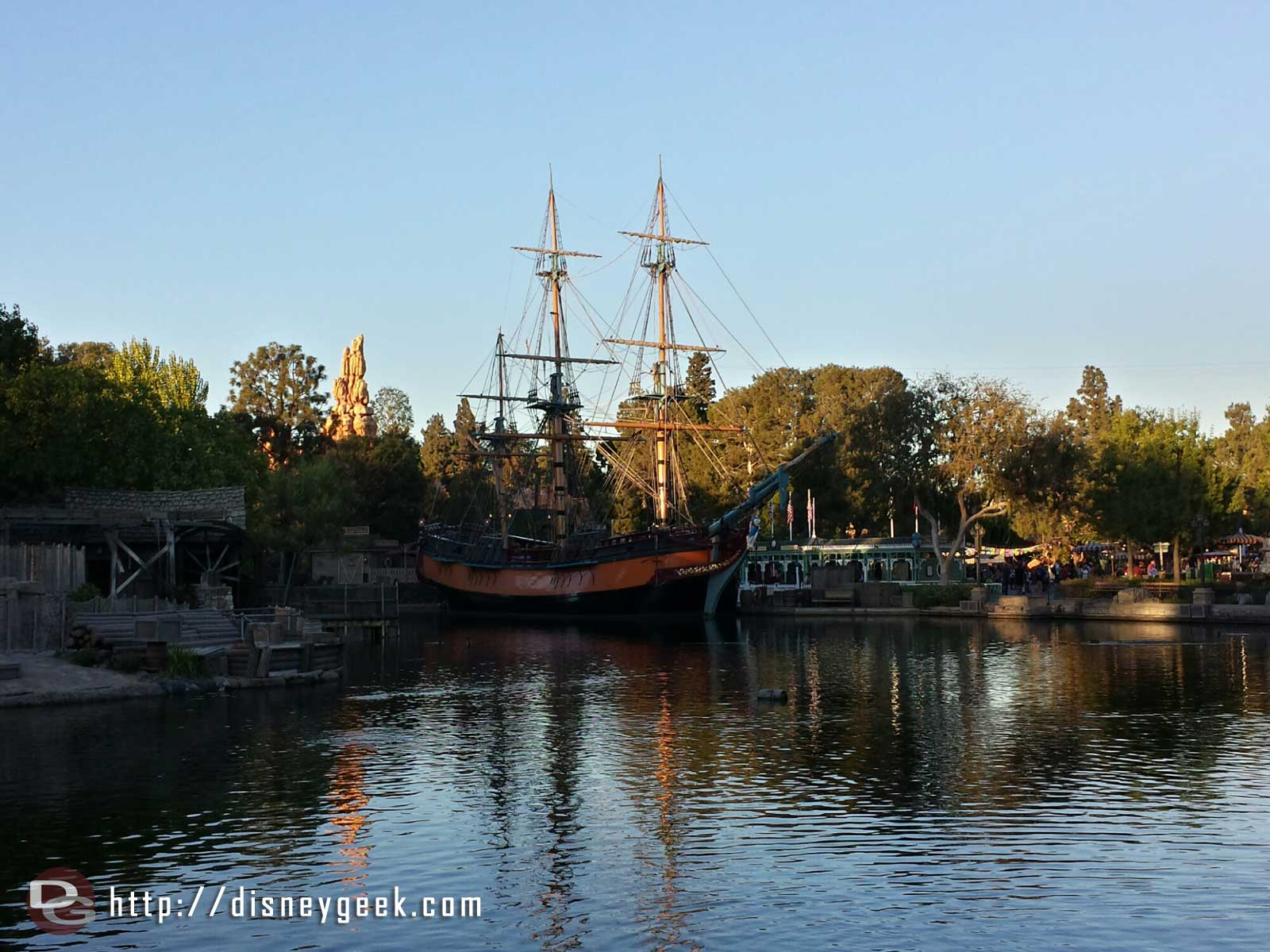 The Columbia in port to be a backdrop for the Halloween Party #Disneyland