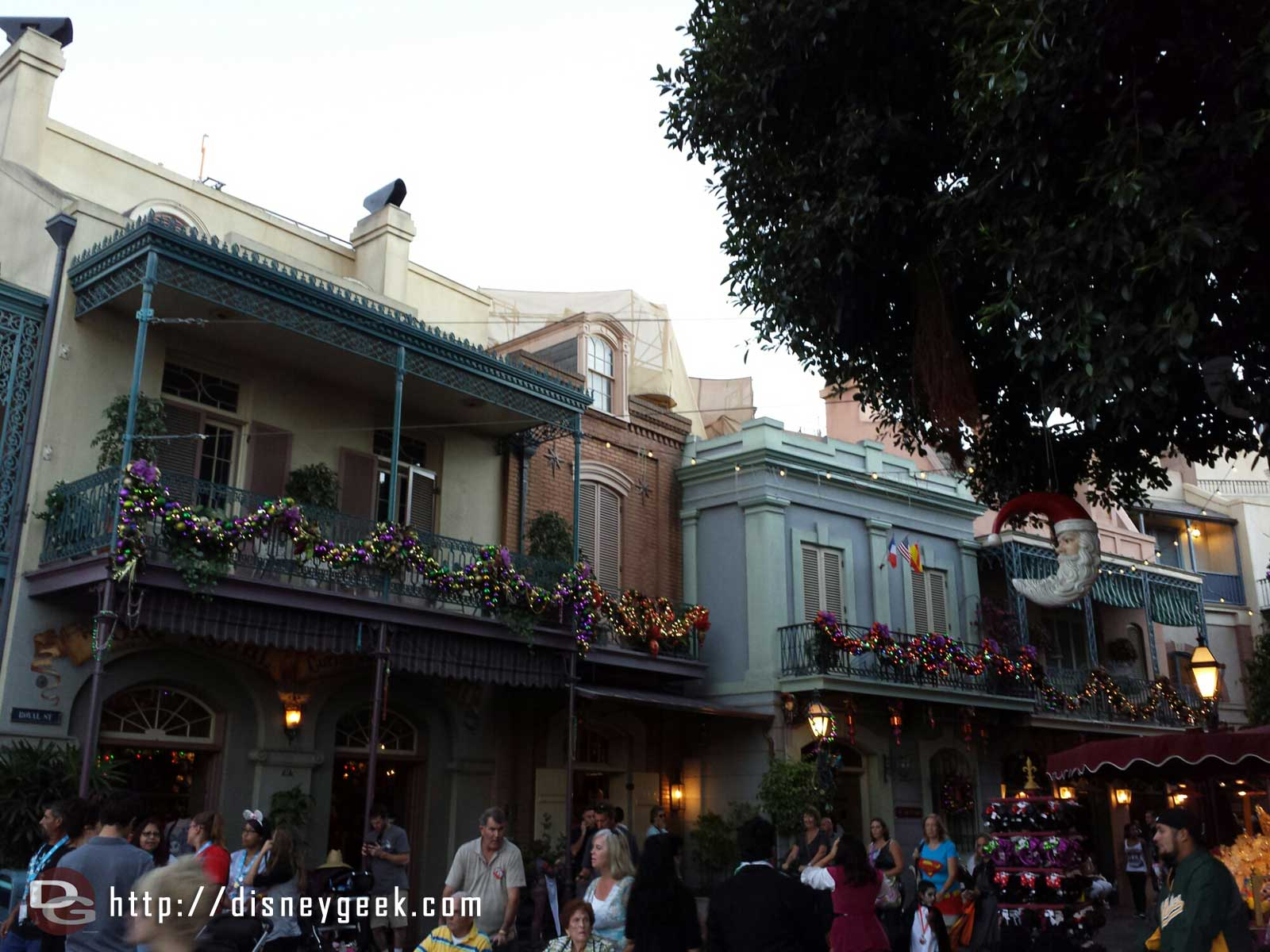 New Orleans Square has most of its Christmas decorations up #Disneyland