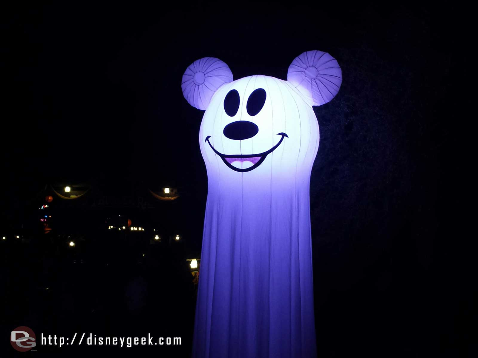 A large Mickey ghost on the Big Thunder Trail for the Halloween Party #Disneyland