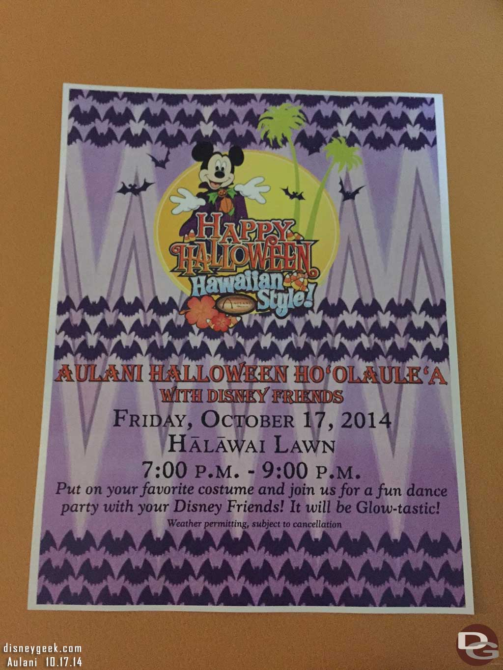 #Aulani Halloween Ho'Olaule'A with Disney Friends Flyer for this evening