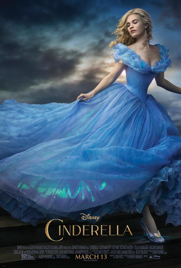 The payoff poster, featuring Lily James as Cinderella, was photographed by Annie Leibovitz exclusively for the film's campaign. Additional photos by Annie Leibovitz featuring the cast from the film can be seen in the costume feature of Vogue magazine's December issue, on stands now.