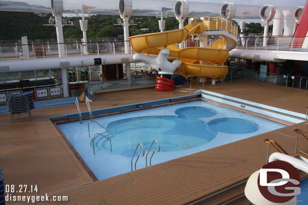 Disney Fantasy - An early morning walk around the ship.  Mickey's Pool is quiet at 8am