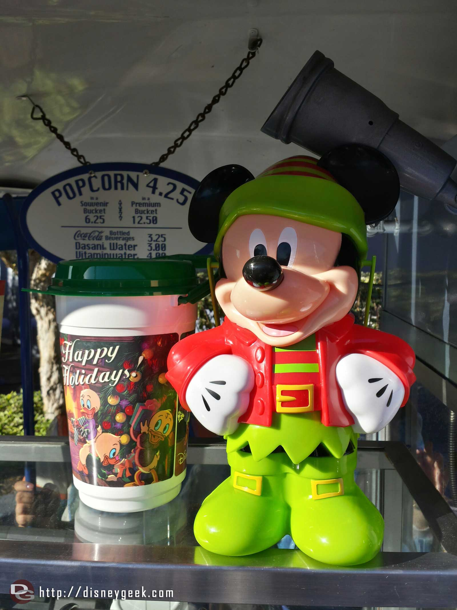 Mickey as an Elf, New popcorn buckets this year