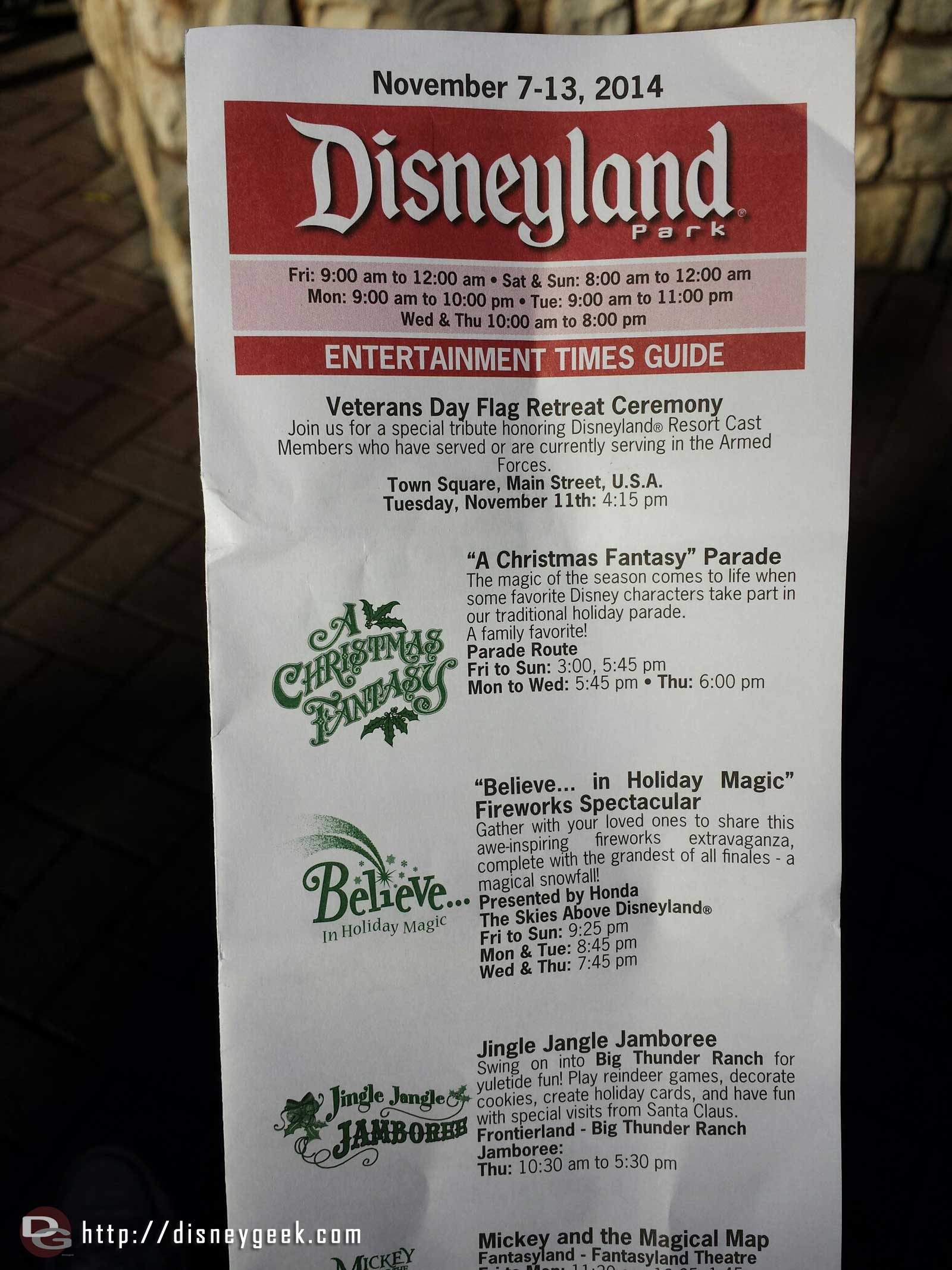 #Disneyland timesguide for today.  Featuring Christmas Entertainment & a Veterans day flag retreat