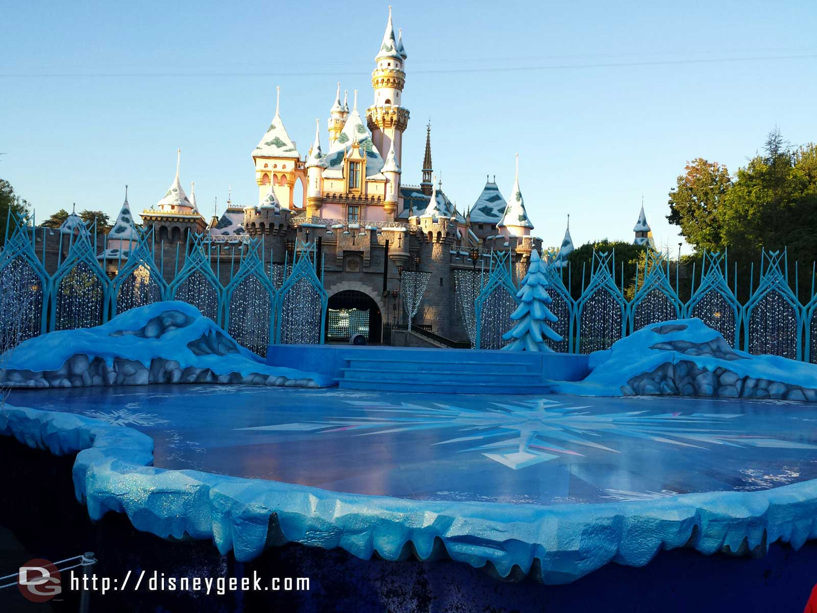 The Frozen inspired stage in front of Sleeping Beauty Castle #Disneyland