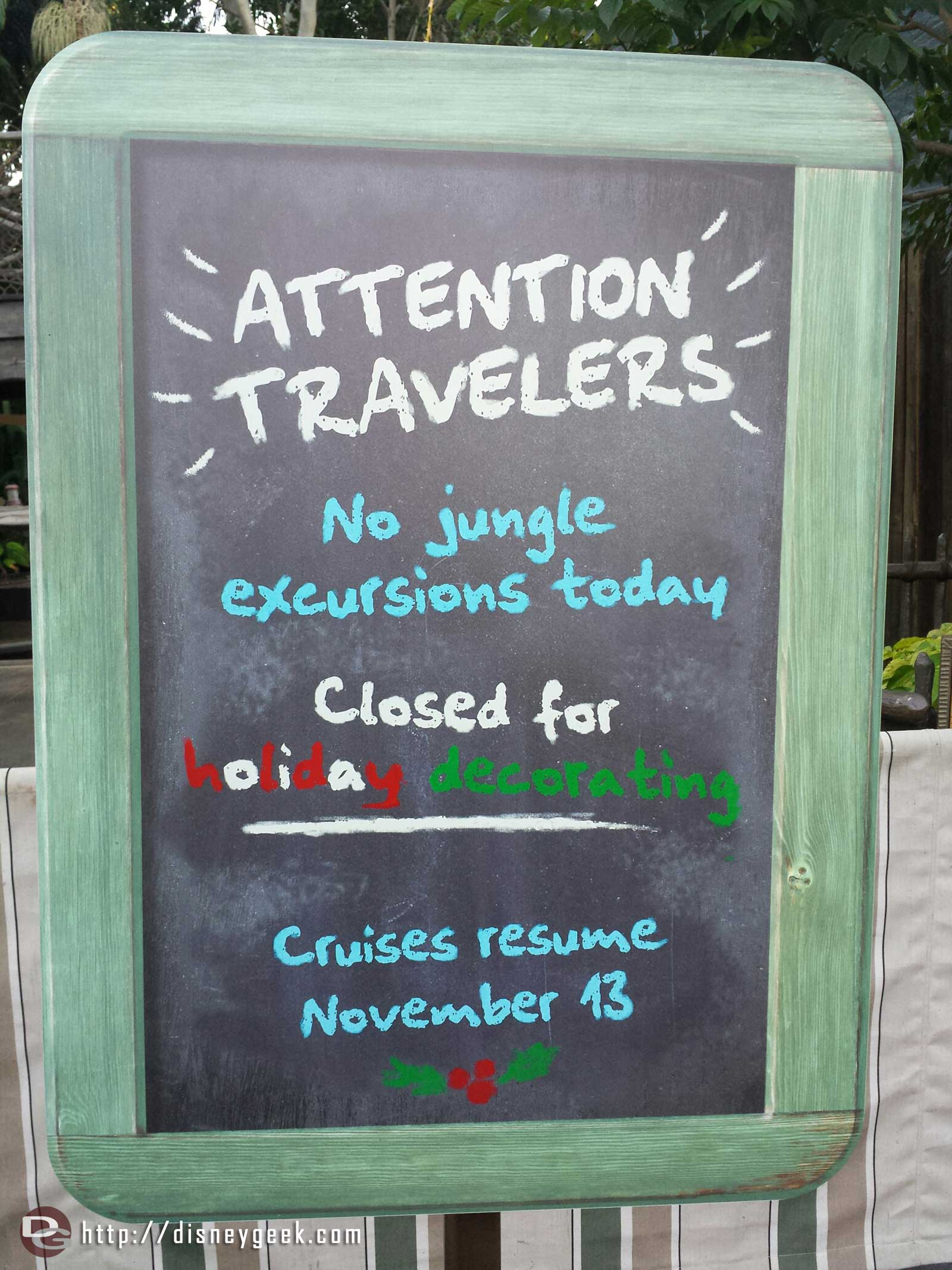 The Jungle Cruise is closed through next week for holiday decorating #Disneyland