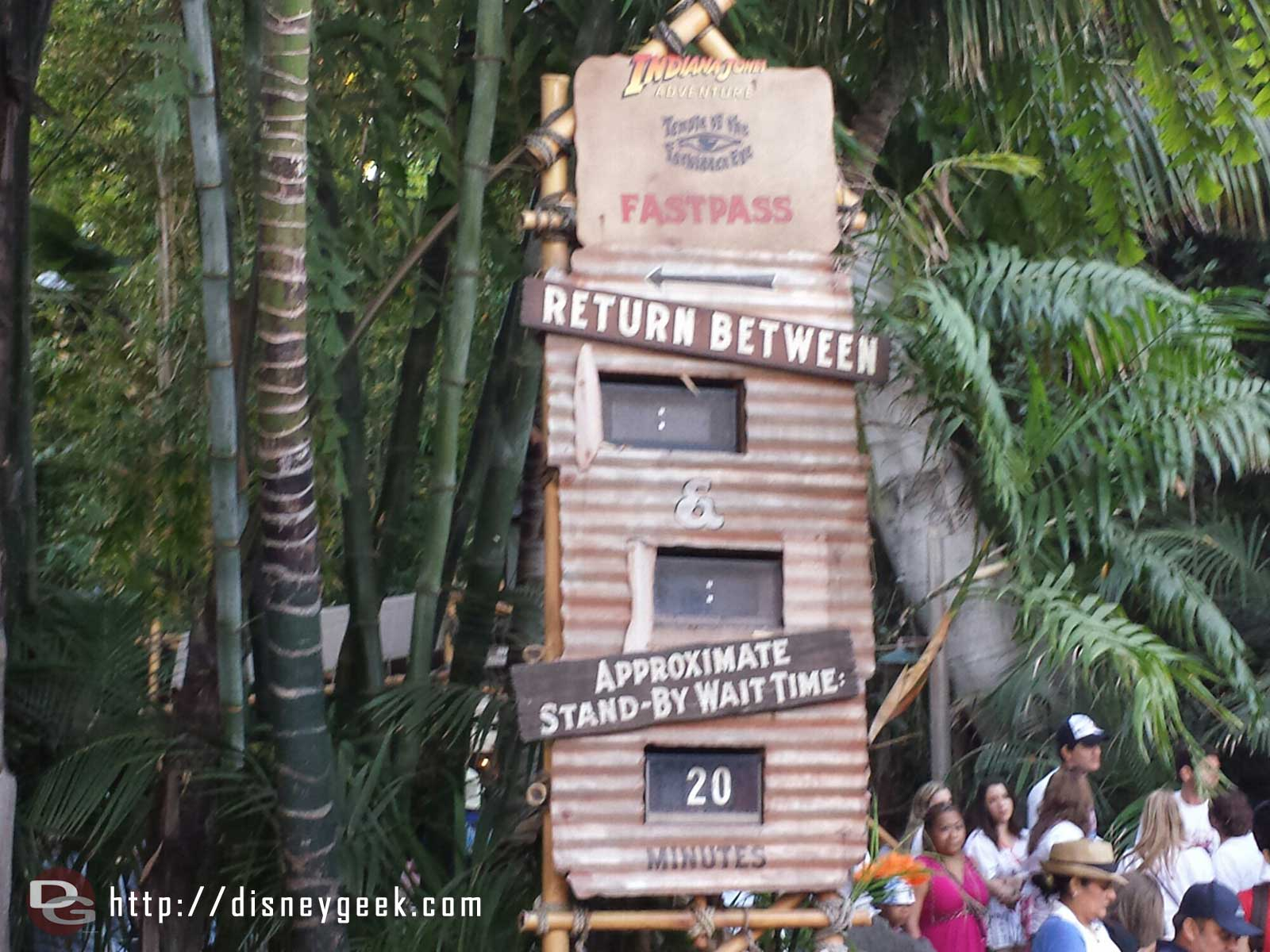 Due to the Jungle Cruise work no Fastpass for Indy and a short wait this evening #Disneyland