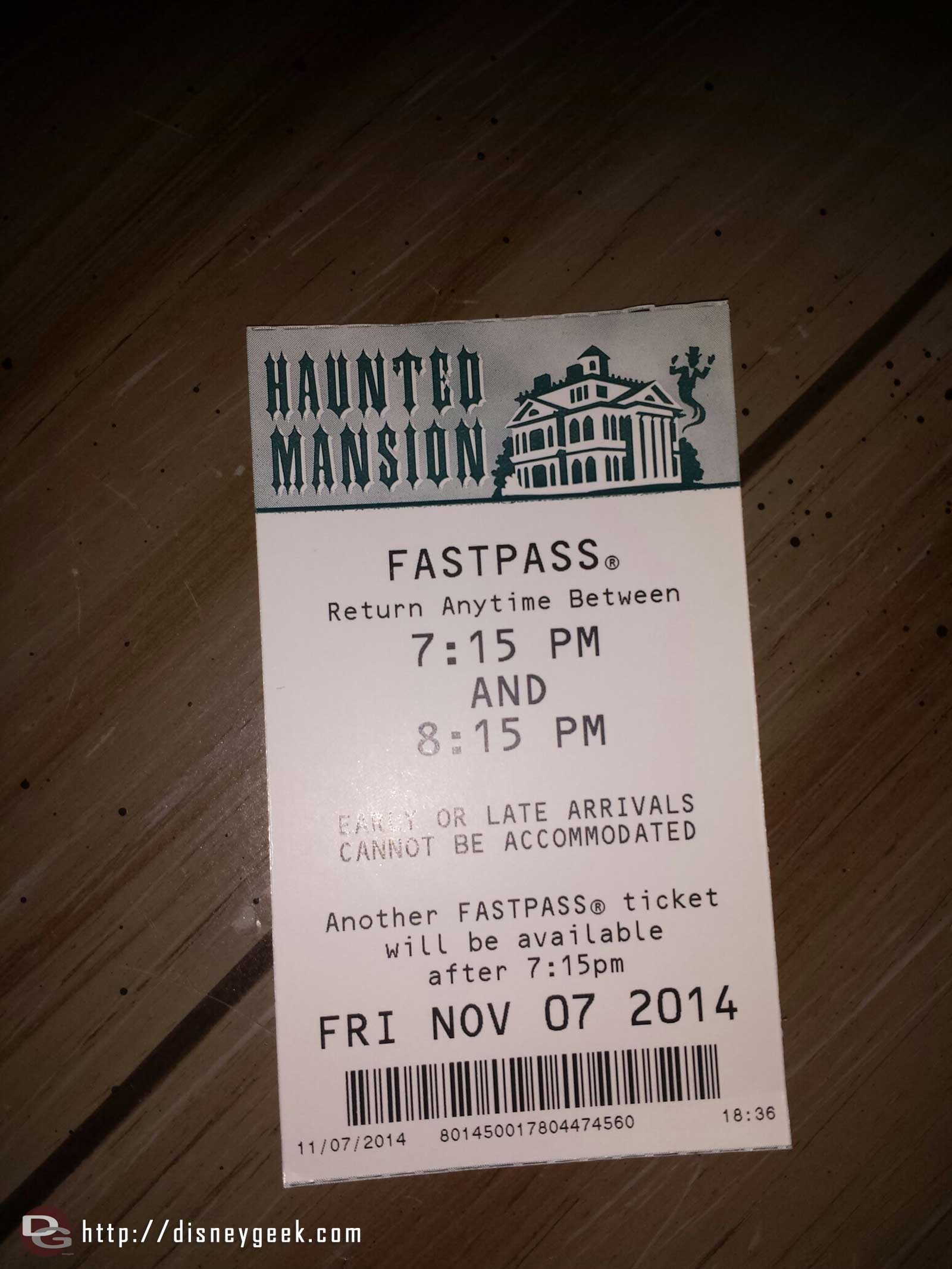Haunted Mansion now has FastPass, no need right now it was a walk on
