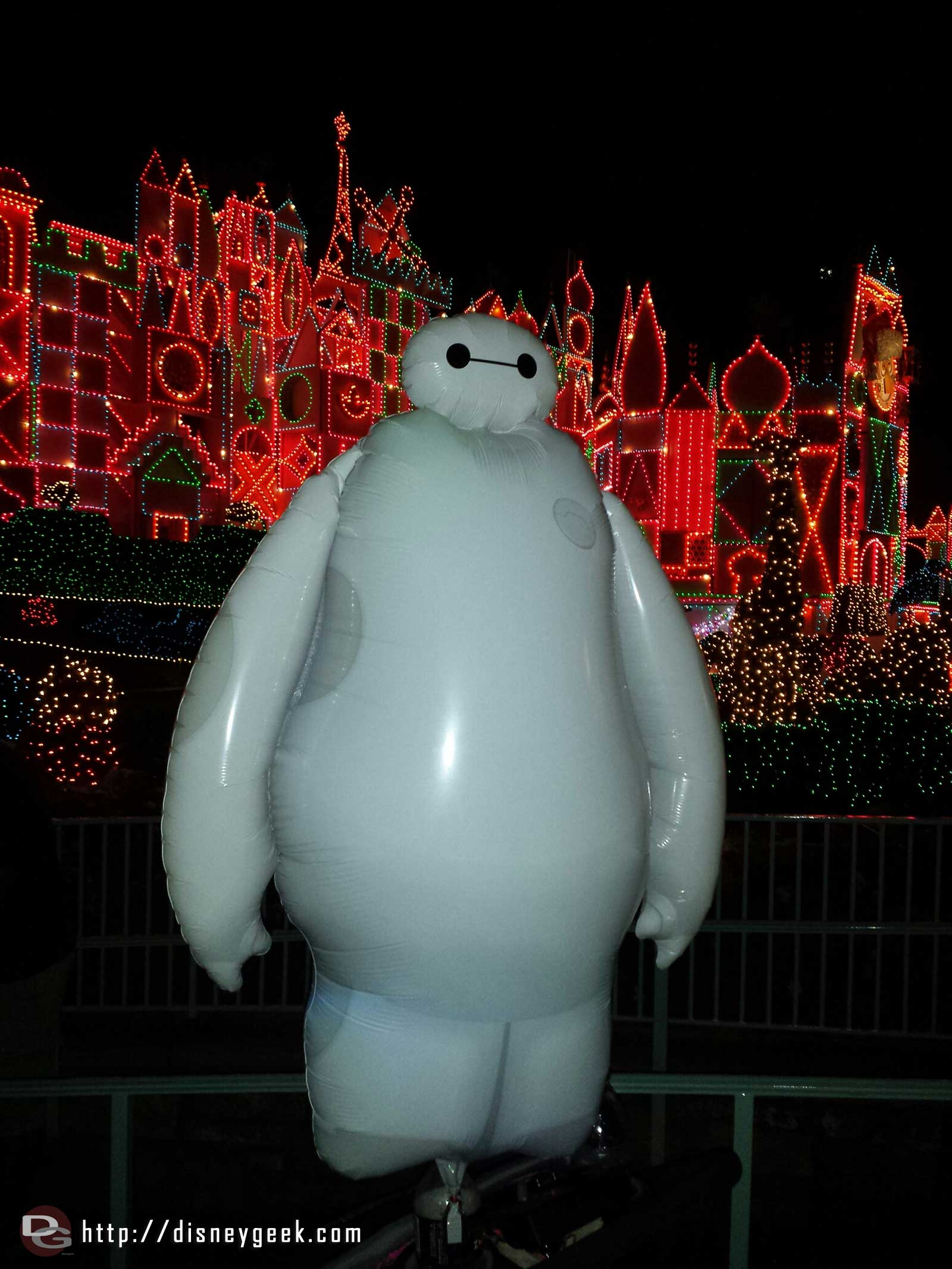 Baymax balloon in front of Small World Holiday #Disneyland #BigHero6