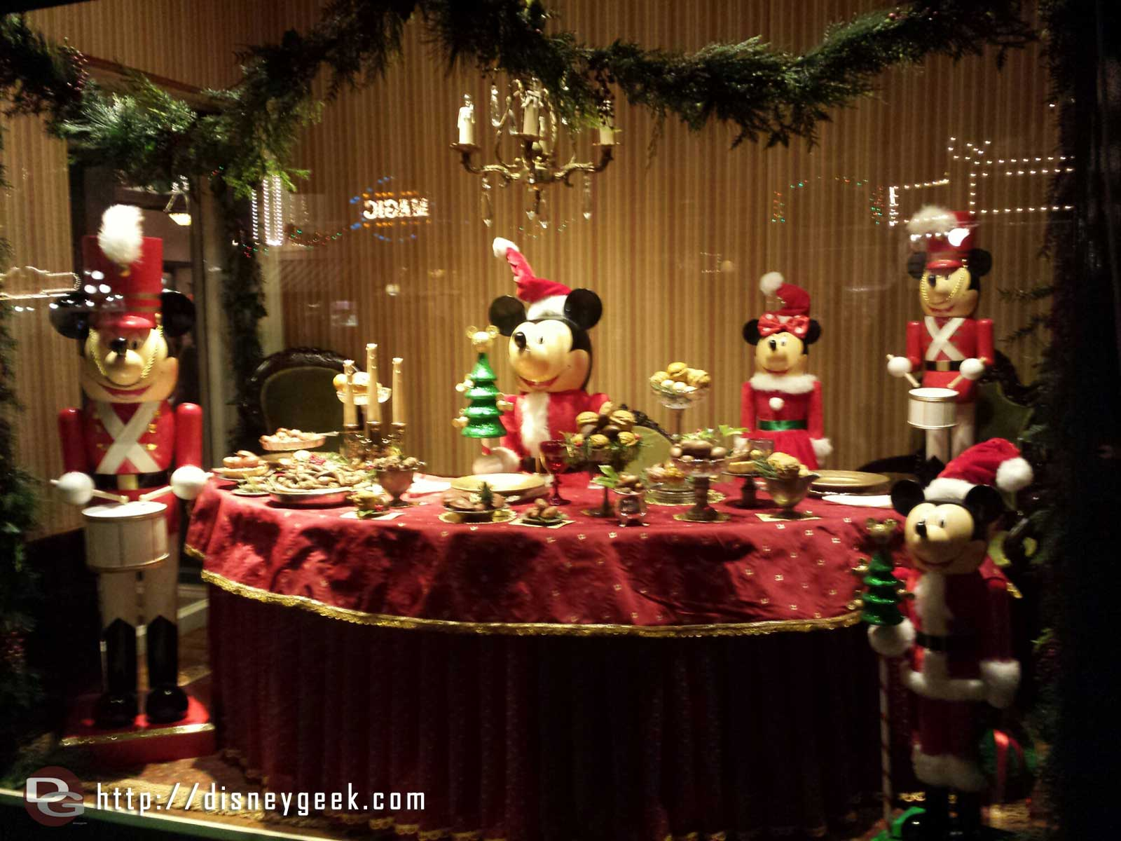 A Mickey Nutcracker Emporium window on Main Street USA #Disneyland