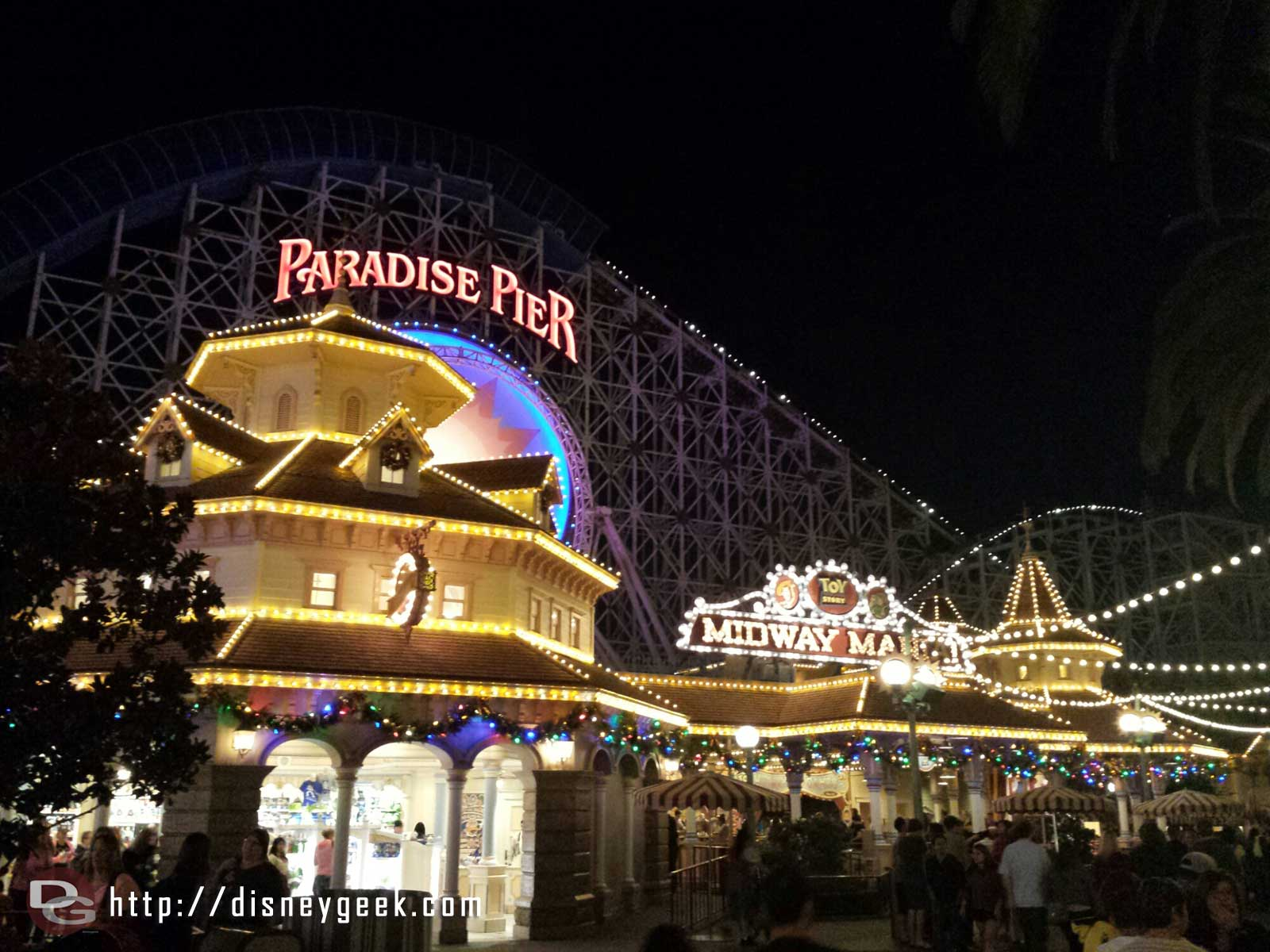 Paradise Pier has some garland and lights this year