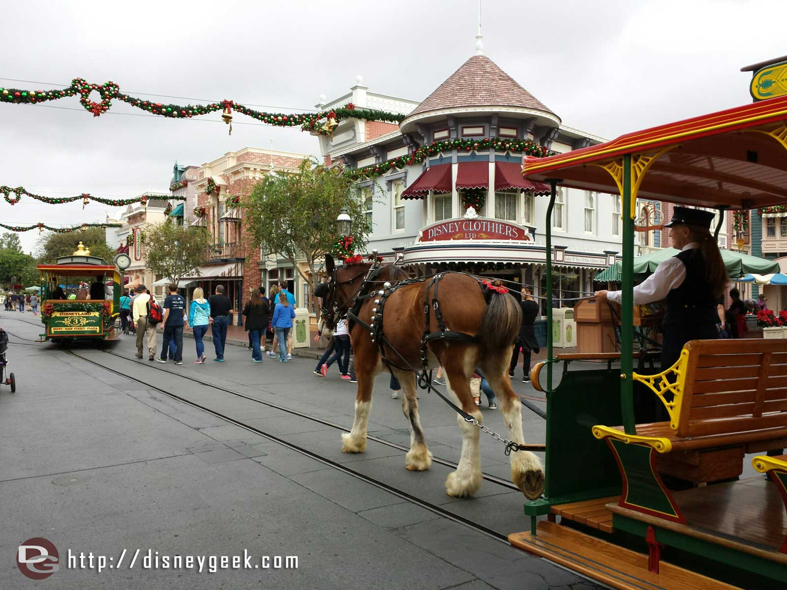 Walking up Main Street USA with the horse drawn street cars