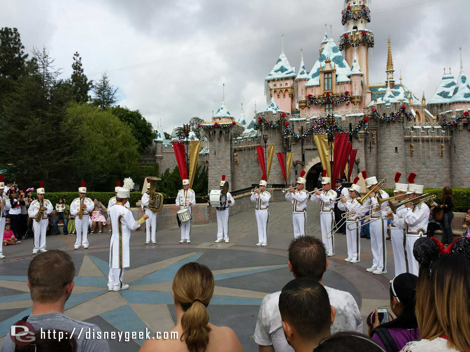 The Disneyland band performing in front of Sleeping Beauty Castle