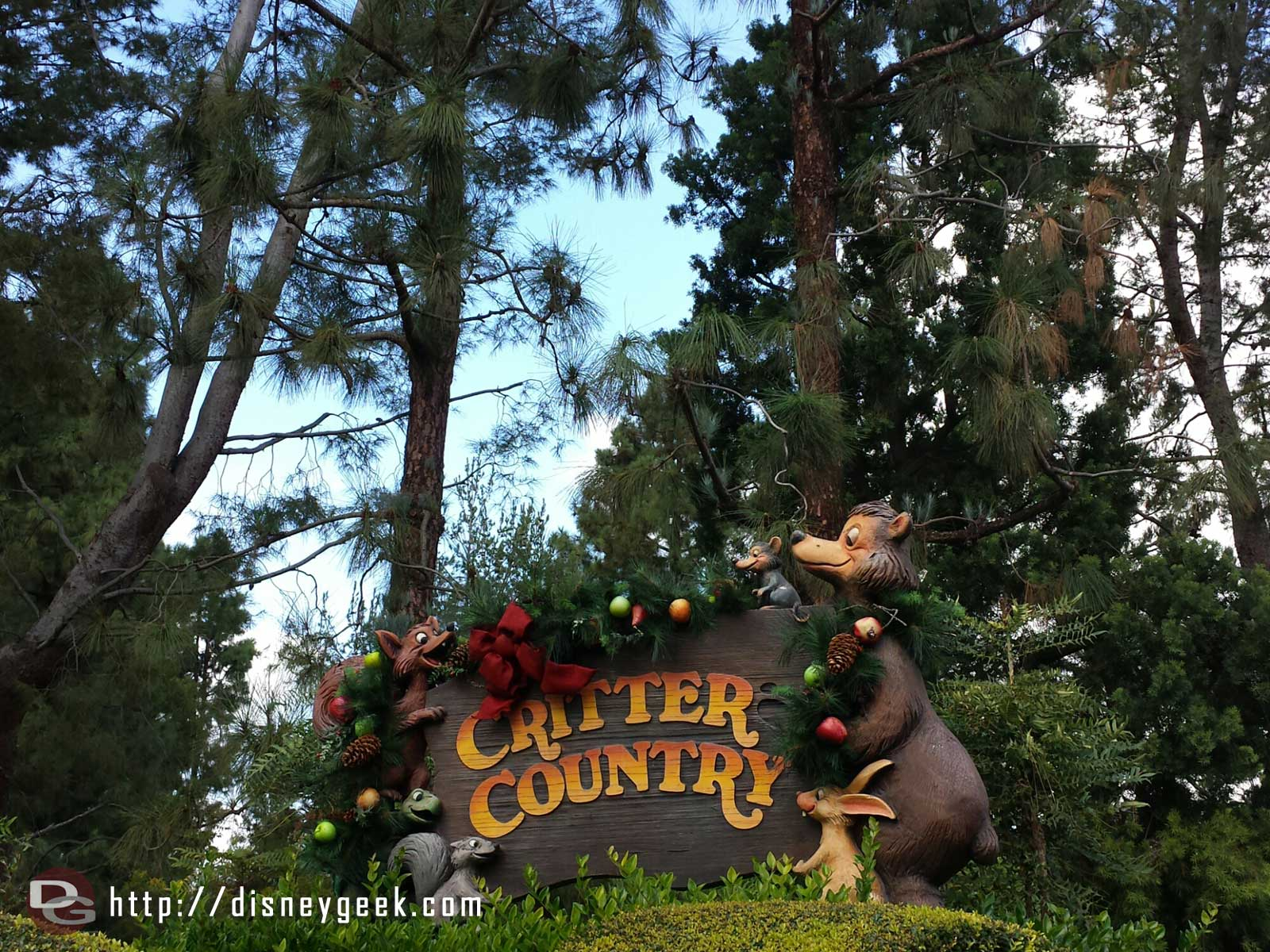 Critter Country sign with Christmas decorations #Disneyland