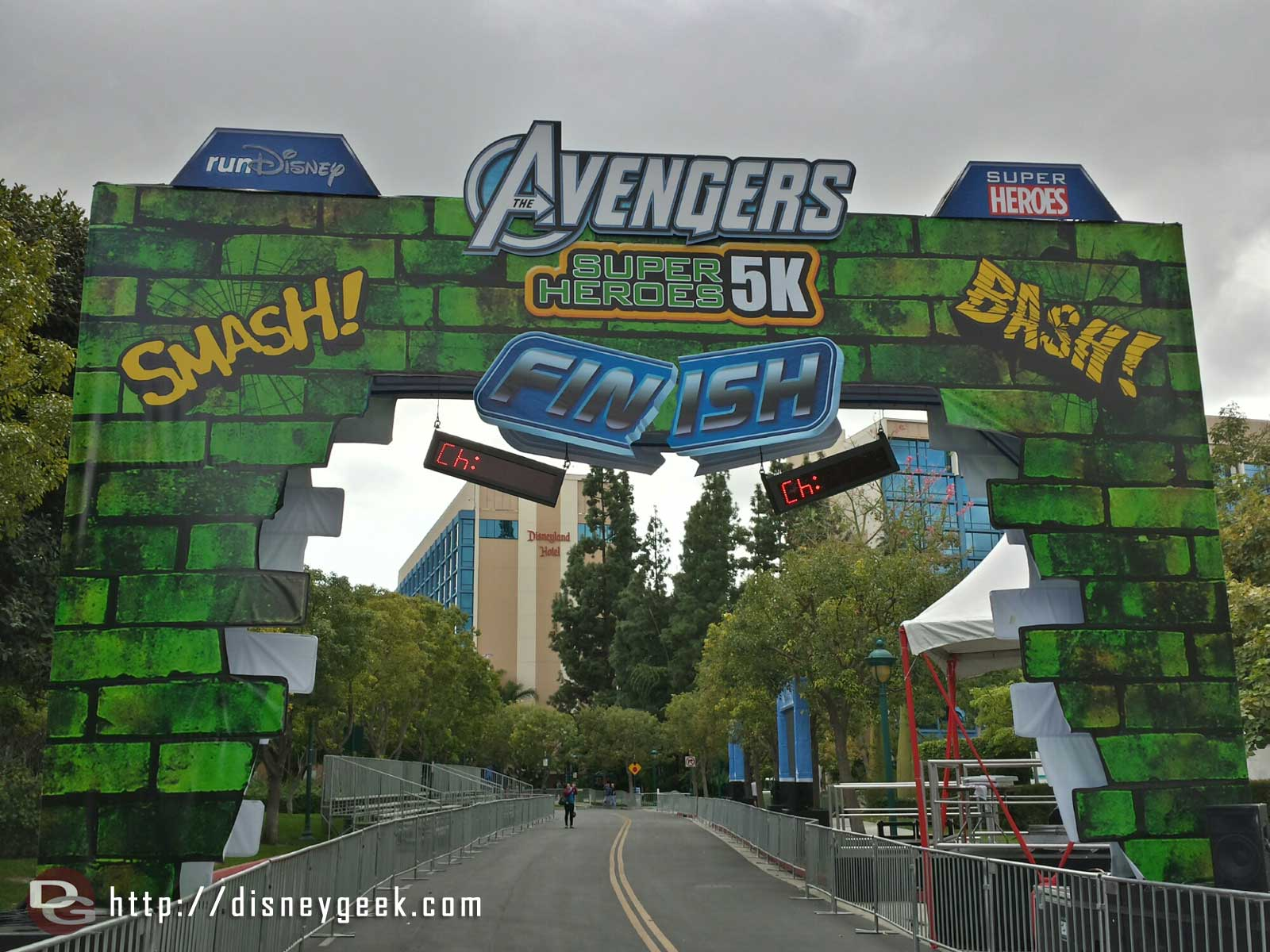 It is a race weekend, the Avengers 5k finish line #RunDisney