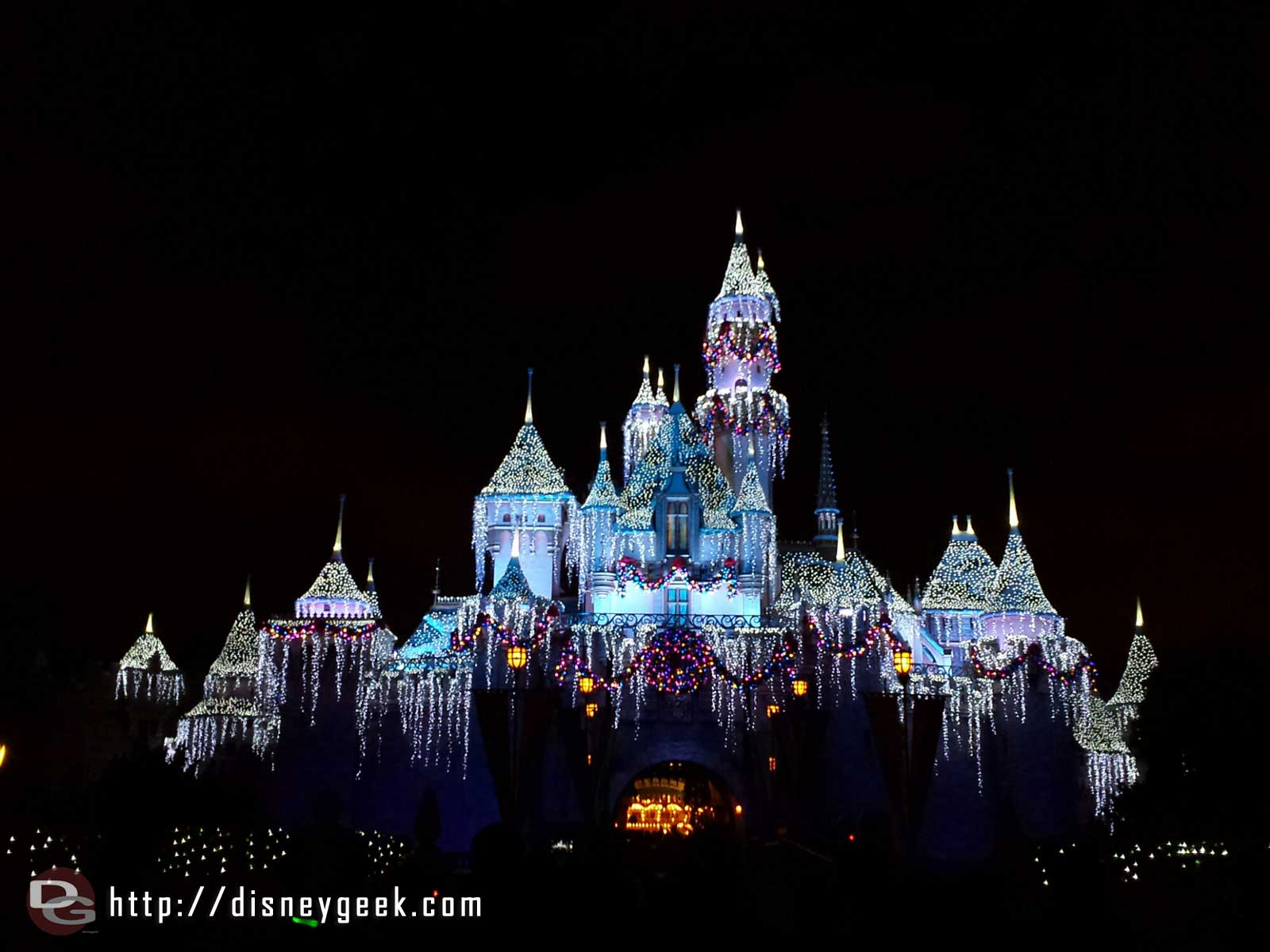 Sleeping Beauty Castle with the snow/ice lights on #Disneyland