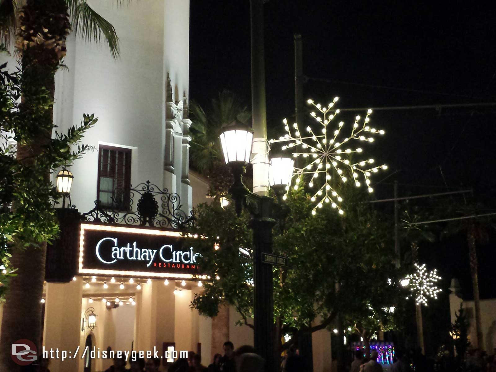 Carthay Circle Restaurant with snow flakes #BuenaVistaStreet
