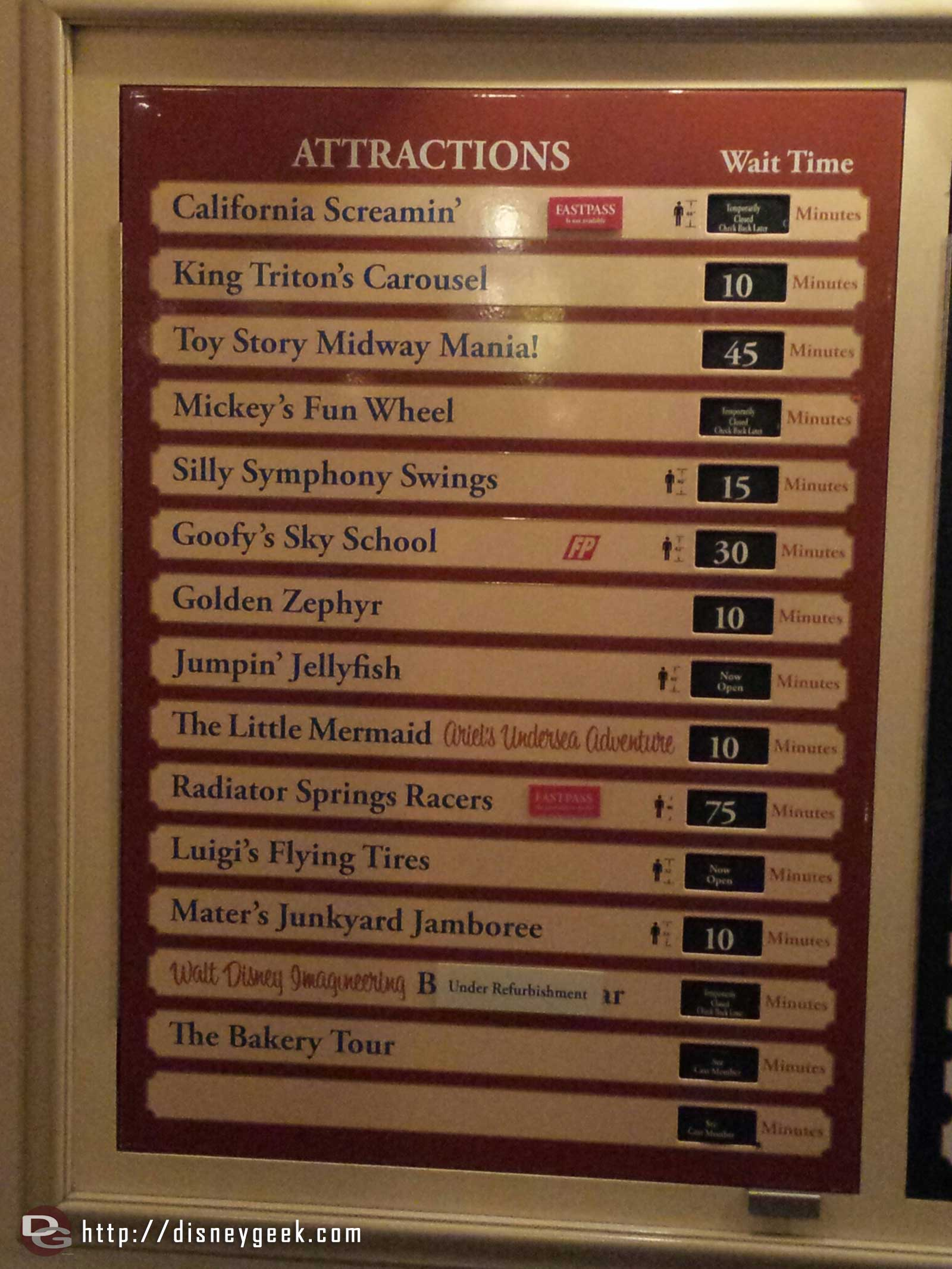Some Disney California Adventure waits as of 8:43pm