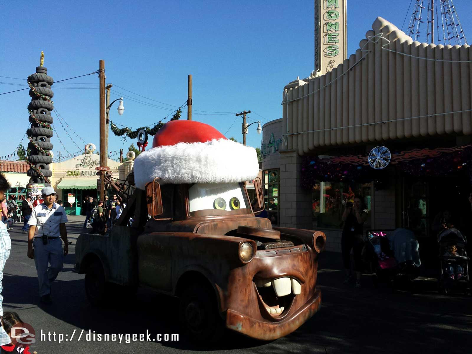 Santa Mater rolling down Cross Street #CarsLand
