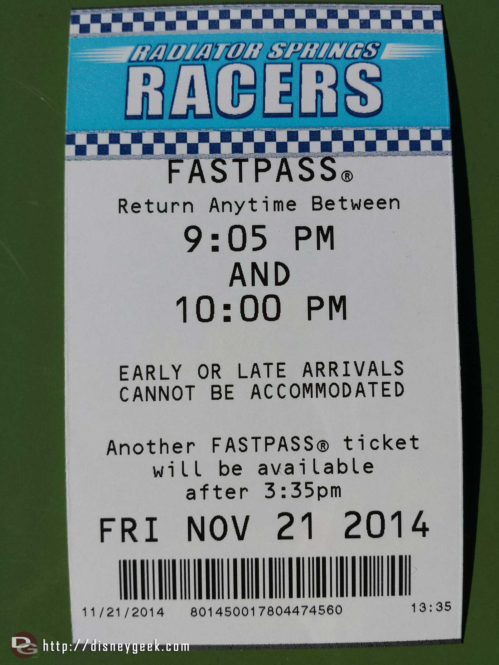 There are still FastPasses available for Radiator Springs Racers (note the return time is less than an hour because of park closing at 10)
