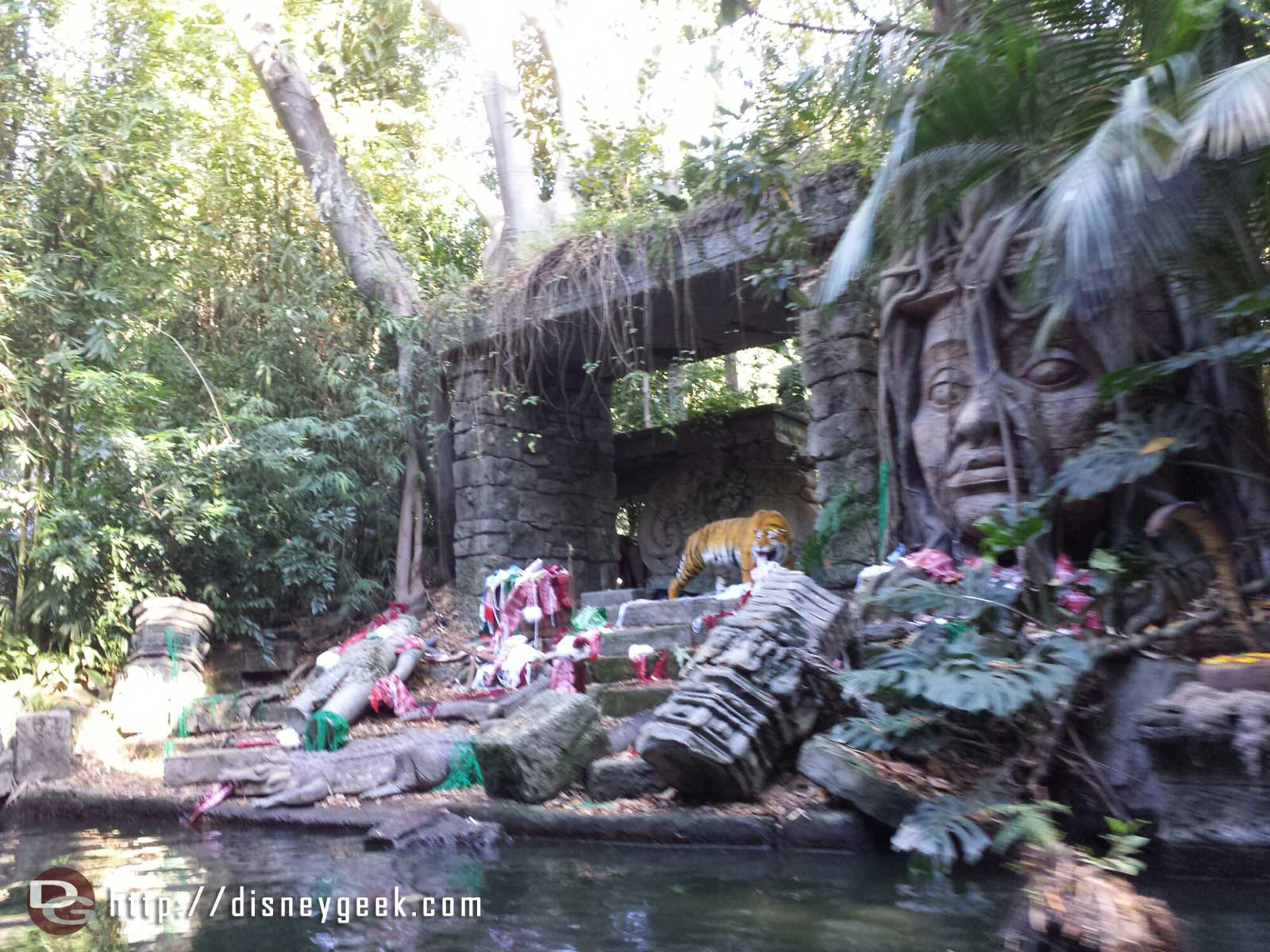 Onboard the Jingle Cruise – the tiger has found some of the lost Christmas decoration shipment