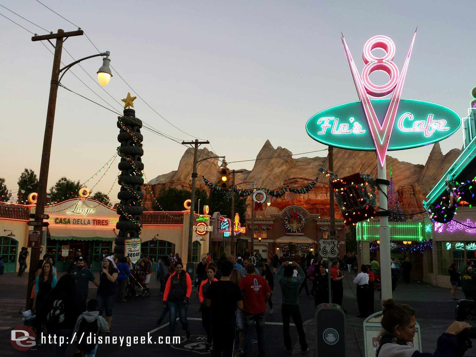 Route 66 & Cross St as the lights come on in #CarsLand