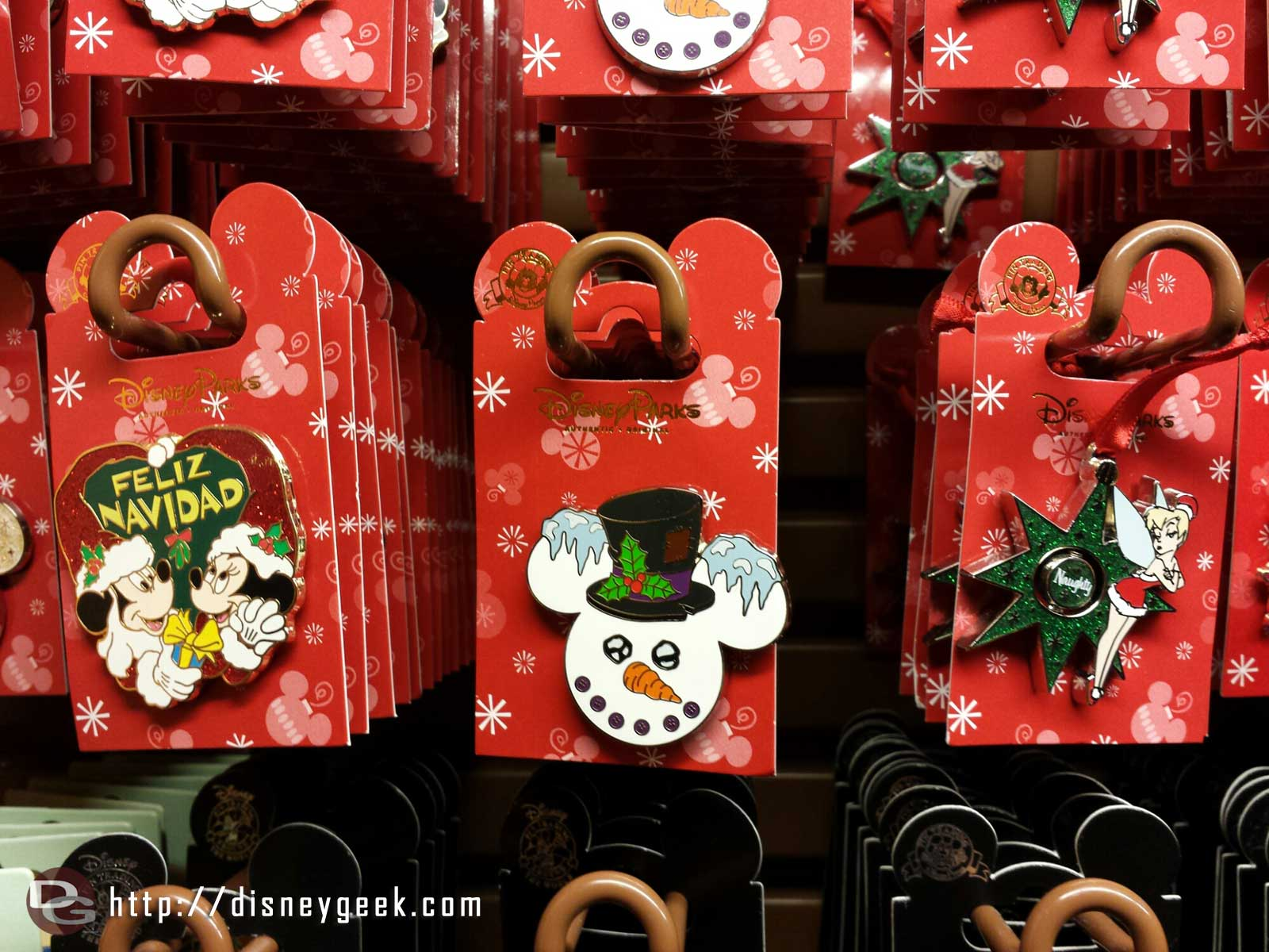 More Christmas Pins (Feliz Navidad, Snowman, and Tinkerbell)