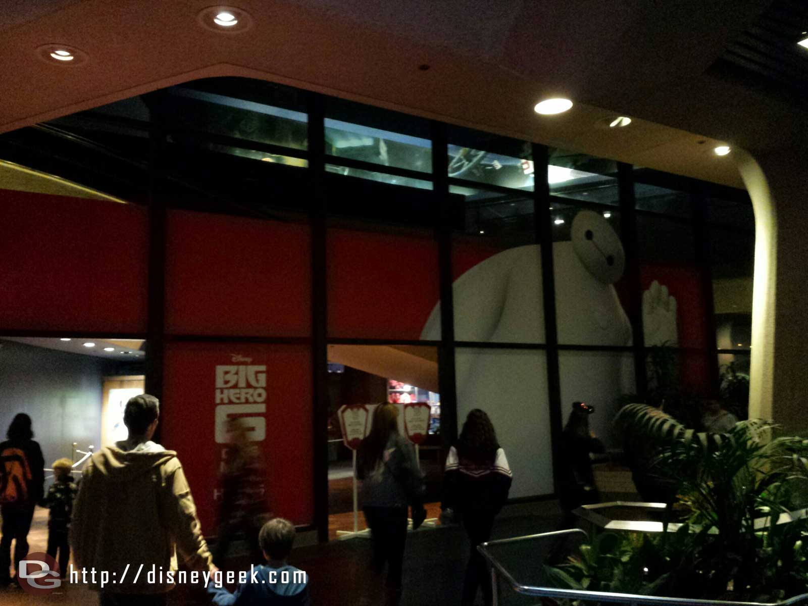Baymax on the window of the Starcade for the #BigHero6 meet and greet