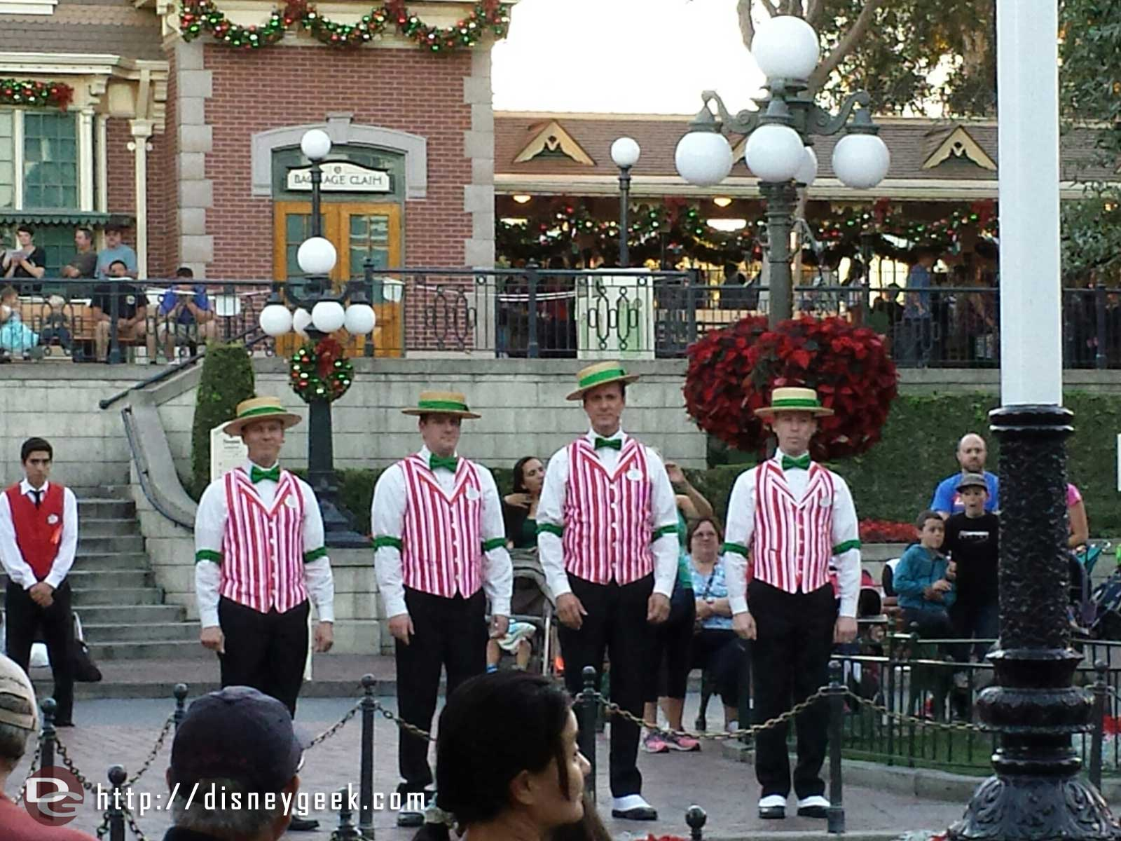 The Dapper Dans of #Disneyland at the nightly Flag Retreat in Town Square