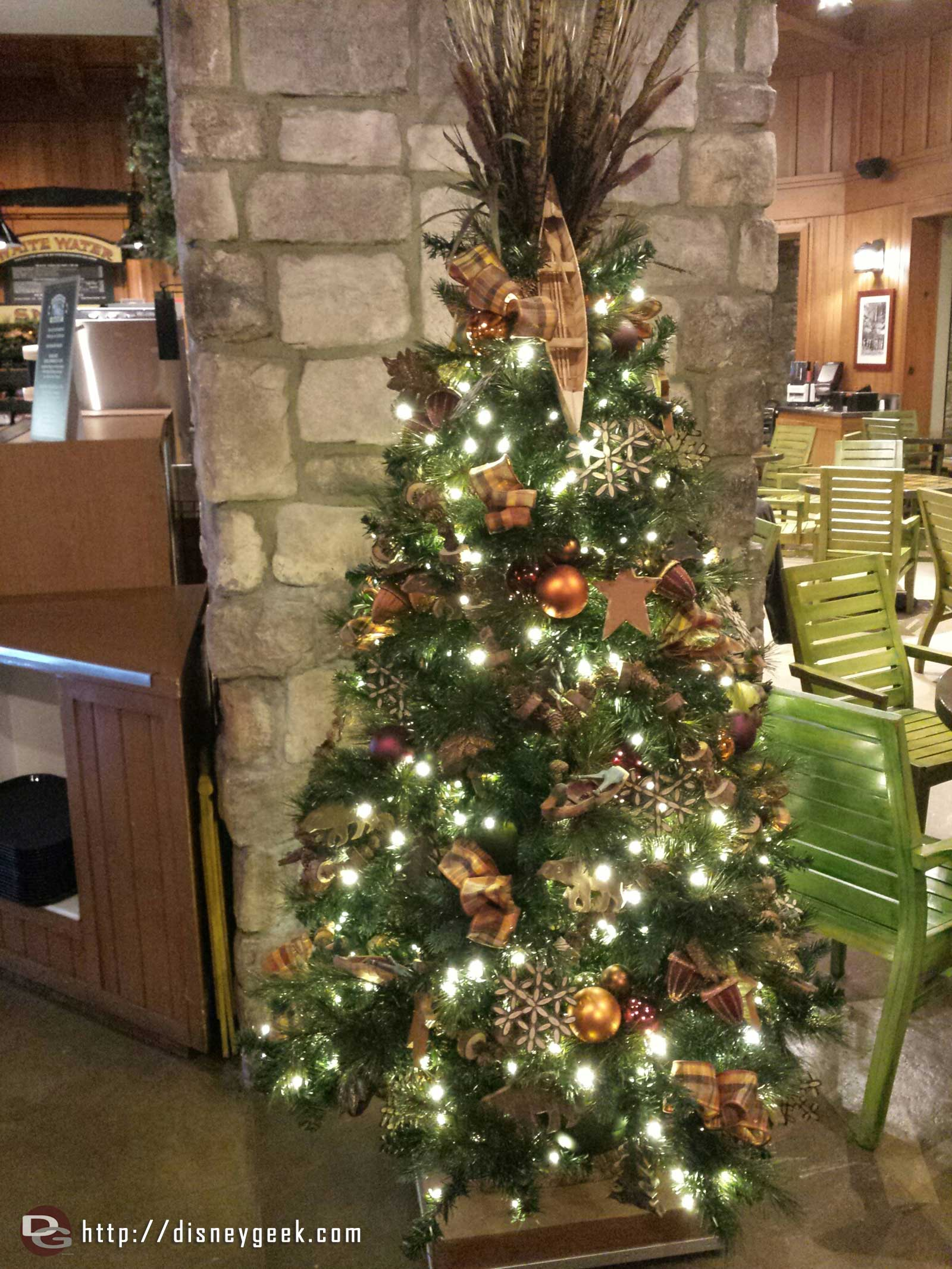 The Christmas tree in White Water Snacks at the Grand Californian