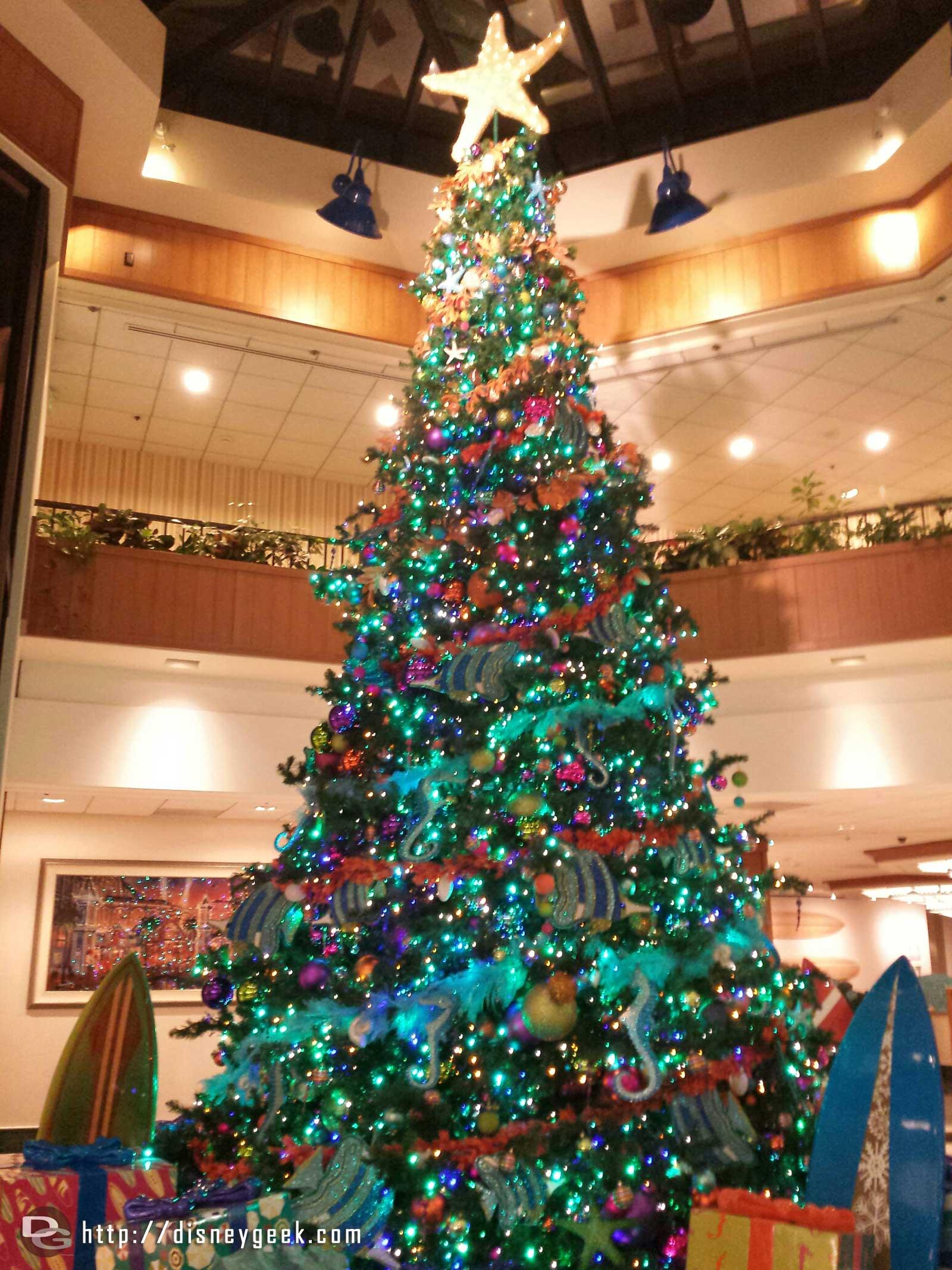 Paradise Pier Hotel lobby Christmas tree