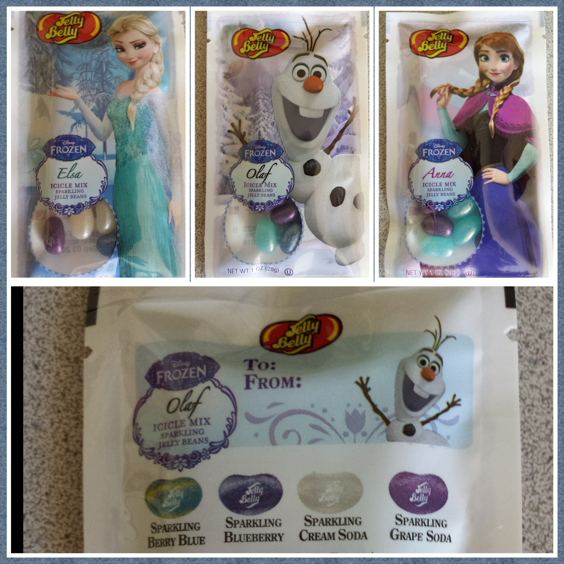 For those looking for more #Frozen items…  Anna, Elsa & Olaf Jelly Belly packages