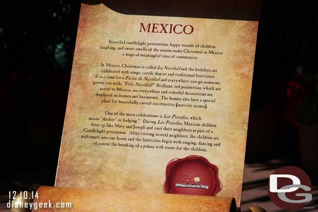 A scroll with some background on the traditions of Christmas in Mexico