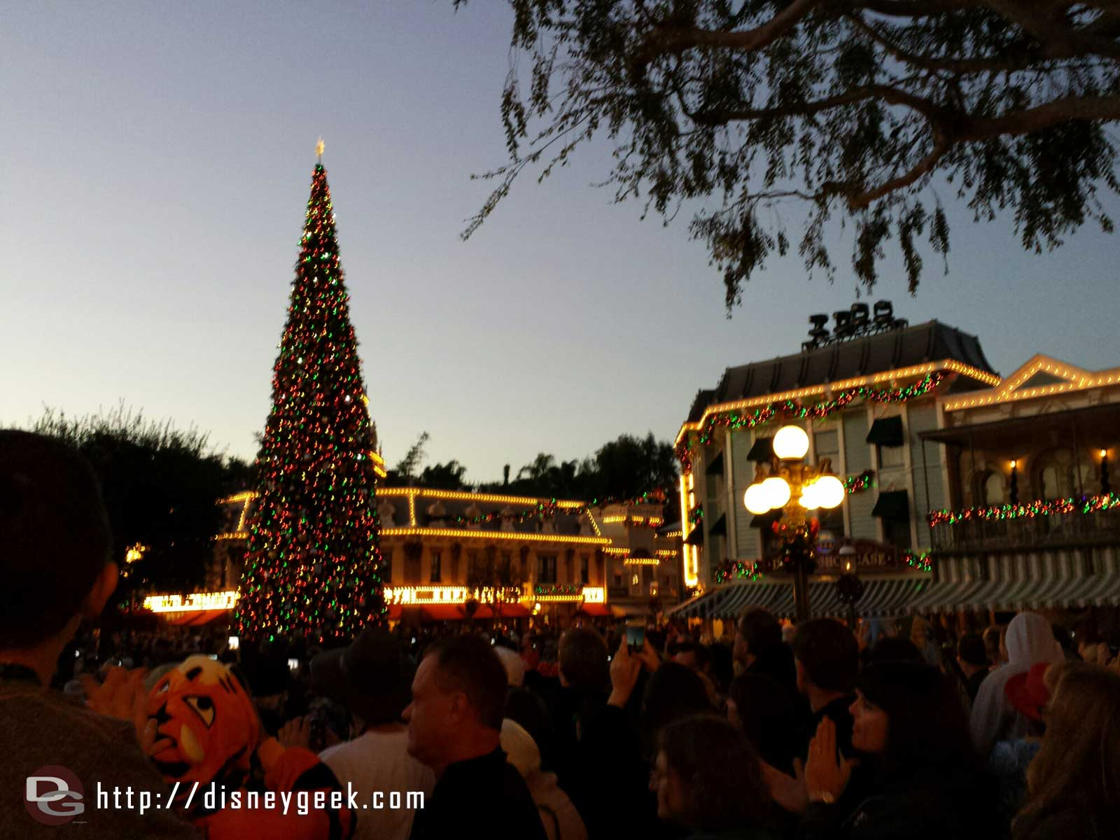 The Town Square Christmas Tree Lighting moment was at 5:00pm #Disneyland