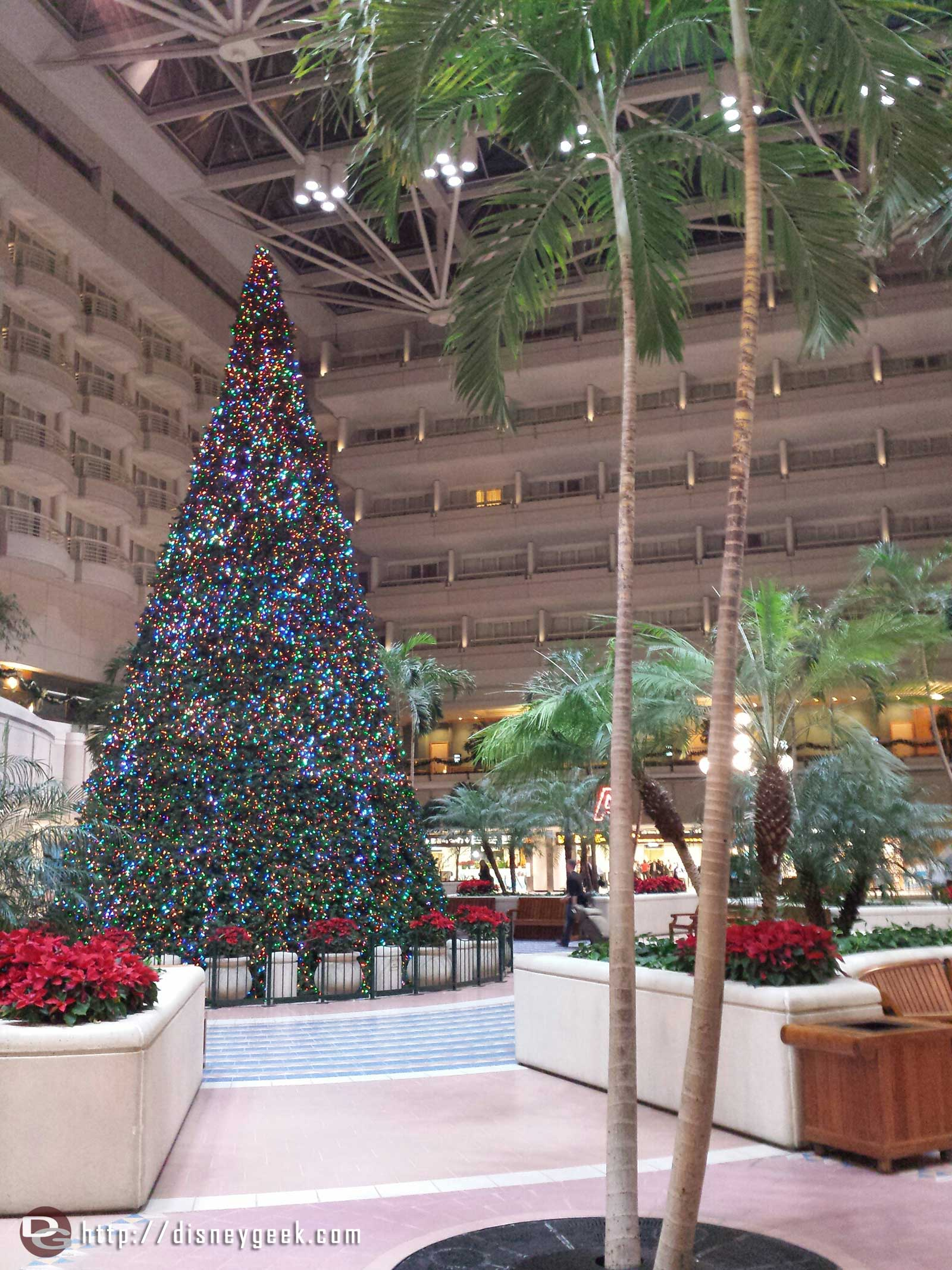 The large Christmas tree at the Orlando International Airport