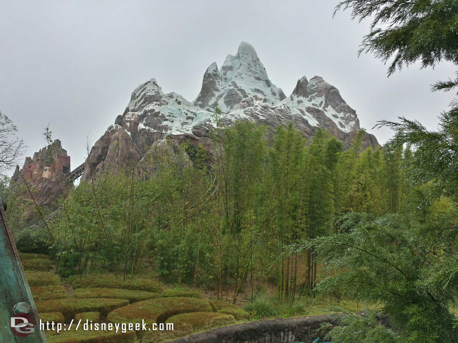 Expedition Everest on a rainy afternoon at Animal Kingdom