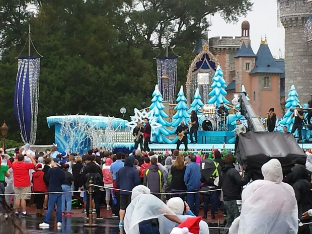 The Disney Parks Frozen Christmas Celebration was being taped at the Magic Kingdom today, in the rain.