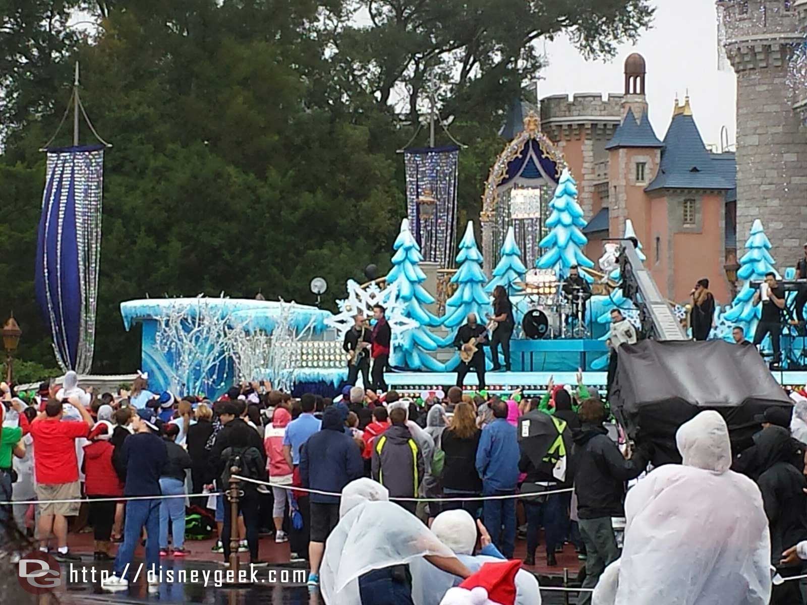 Prince Royce performing Feliz Navidad for the Disney Parks Frozen Celebration taping at #wdw Magic Kingdom