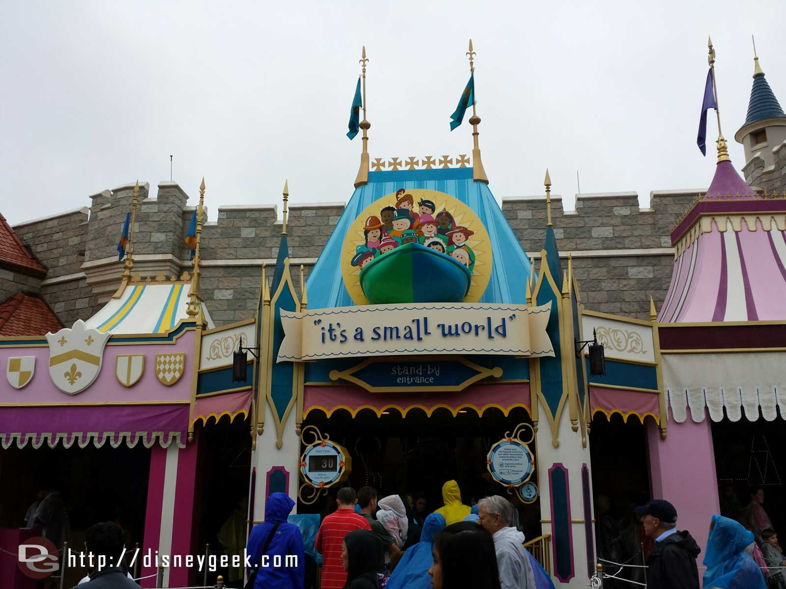 Small World entrance – a posted wait of 30 and Peter Pan 70
