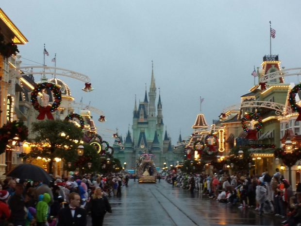 A gloomy afternoon/evening at the Magic Kingdom as the Festival of Fantasy Parade makes its way up Main Street USA.  Note: No Christmas tree in Town Square yet due to the Christmas Parade taping going on this week.