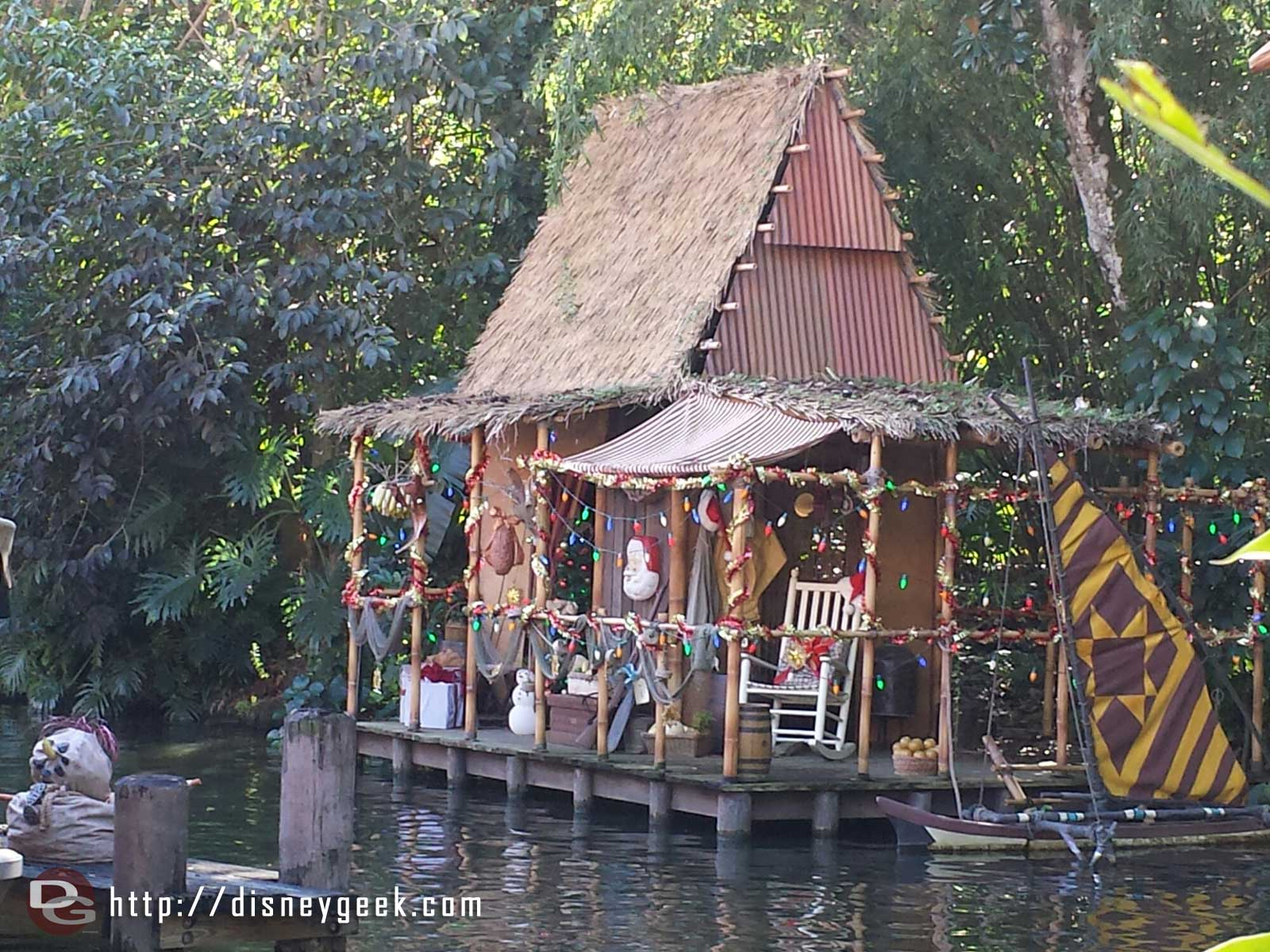 Jingle Cruise – a hut across from the dock