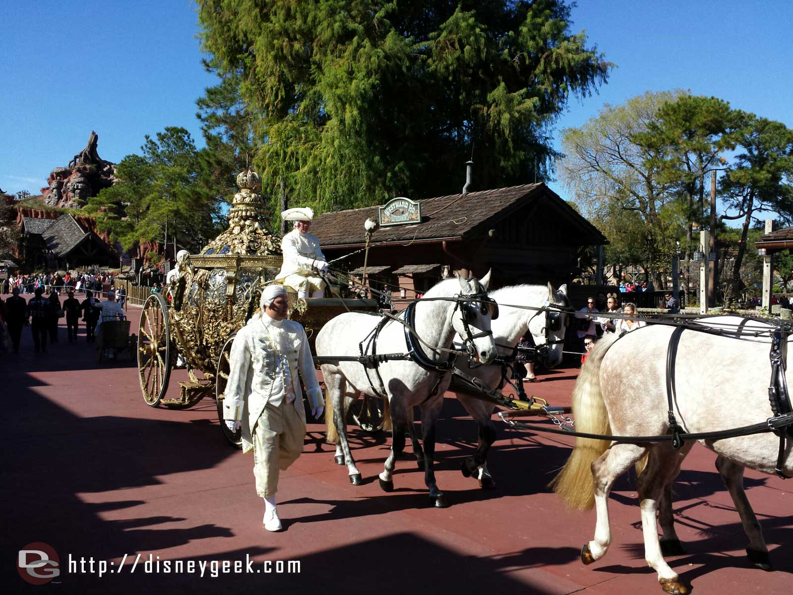 The coach from the upcoming Cinderella film rolling out for the Frozen Christmas Celebration taping